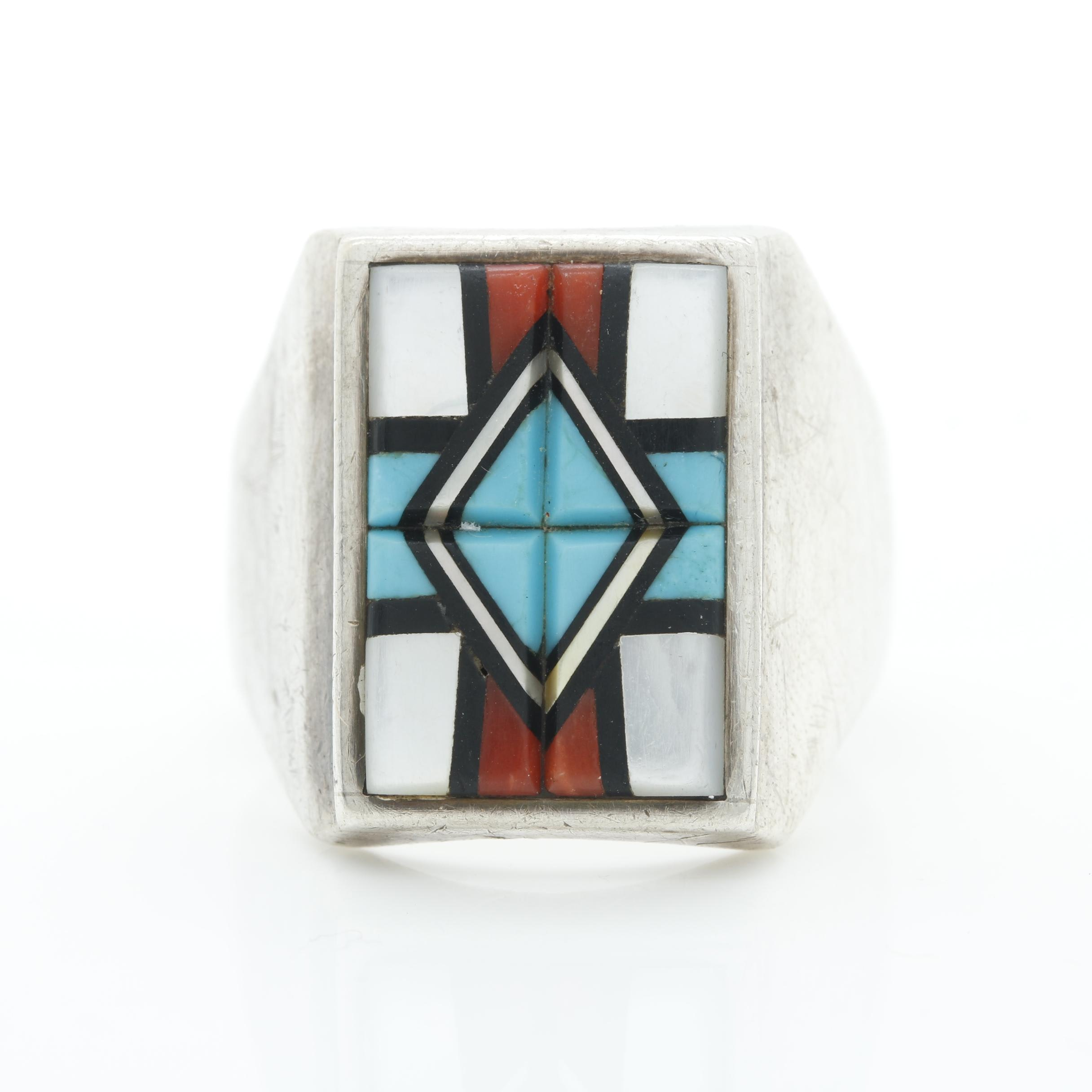 Southwestern Style Sterling Silver Gemstone Inlay Ring