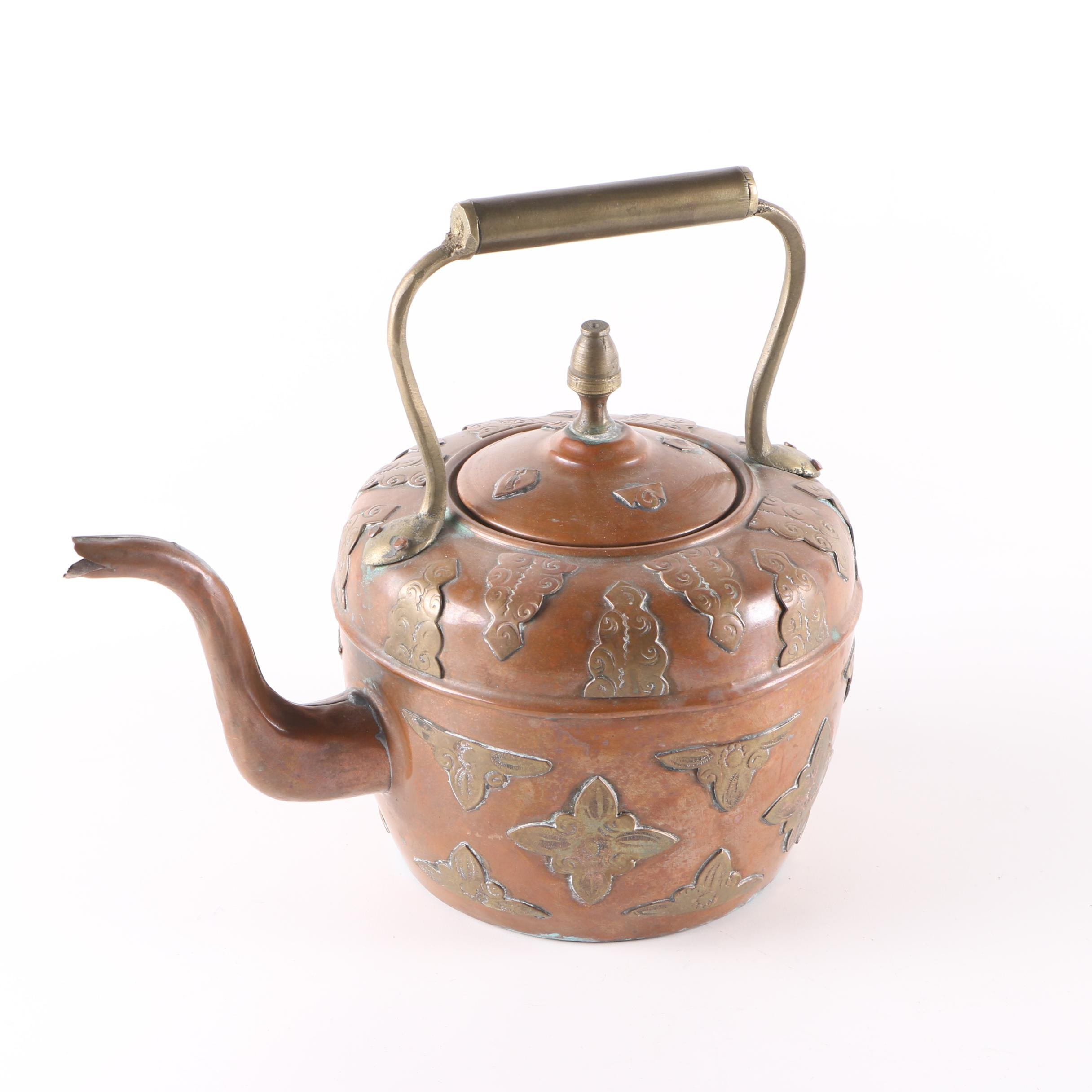 Vintage Moroccan Copper and Bras Tea Kettle