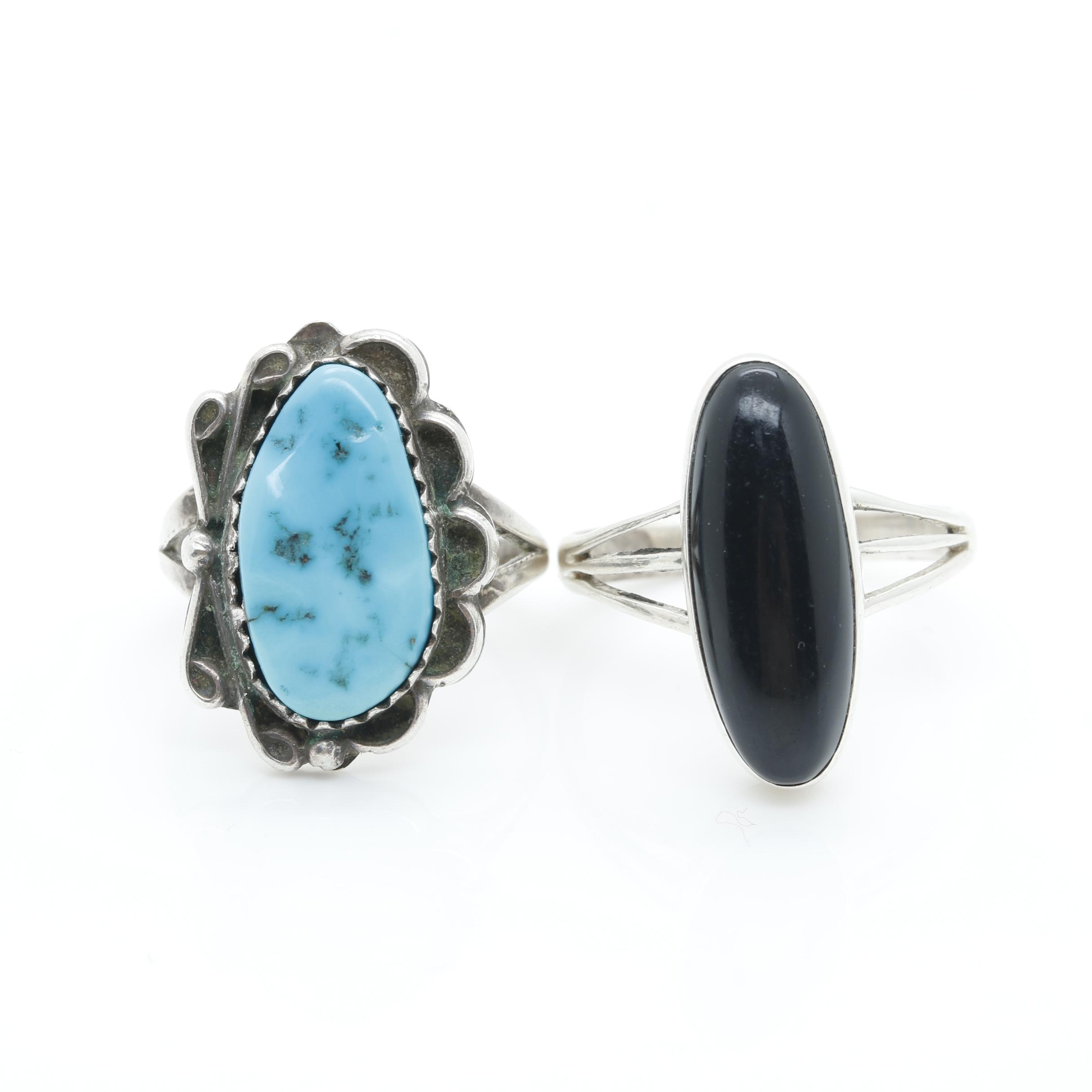 Southwestern Style Sterling Silver Turquoise and Black Onyx Rings