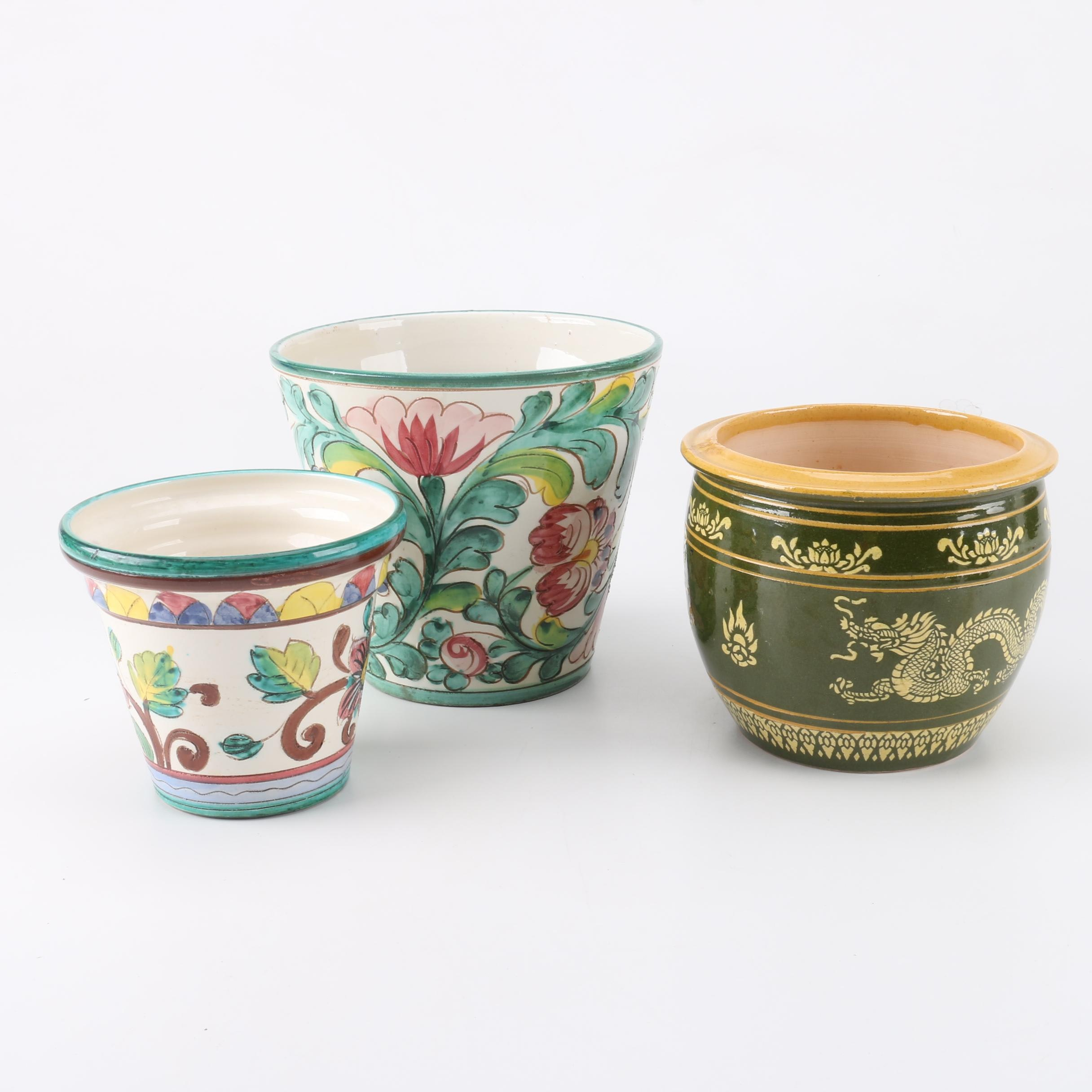 Italian Hand-Painted and Ceramic Art Pottery Planters