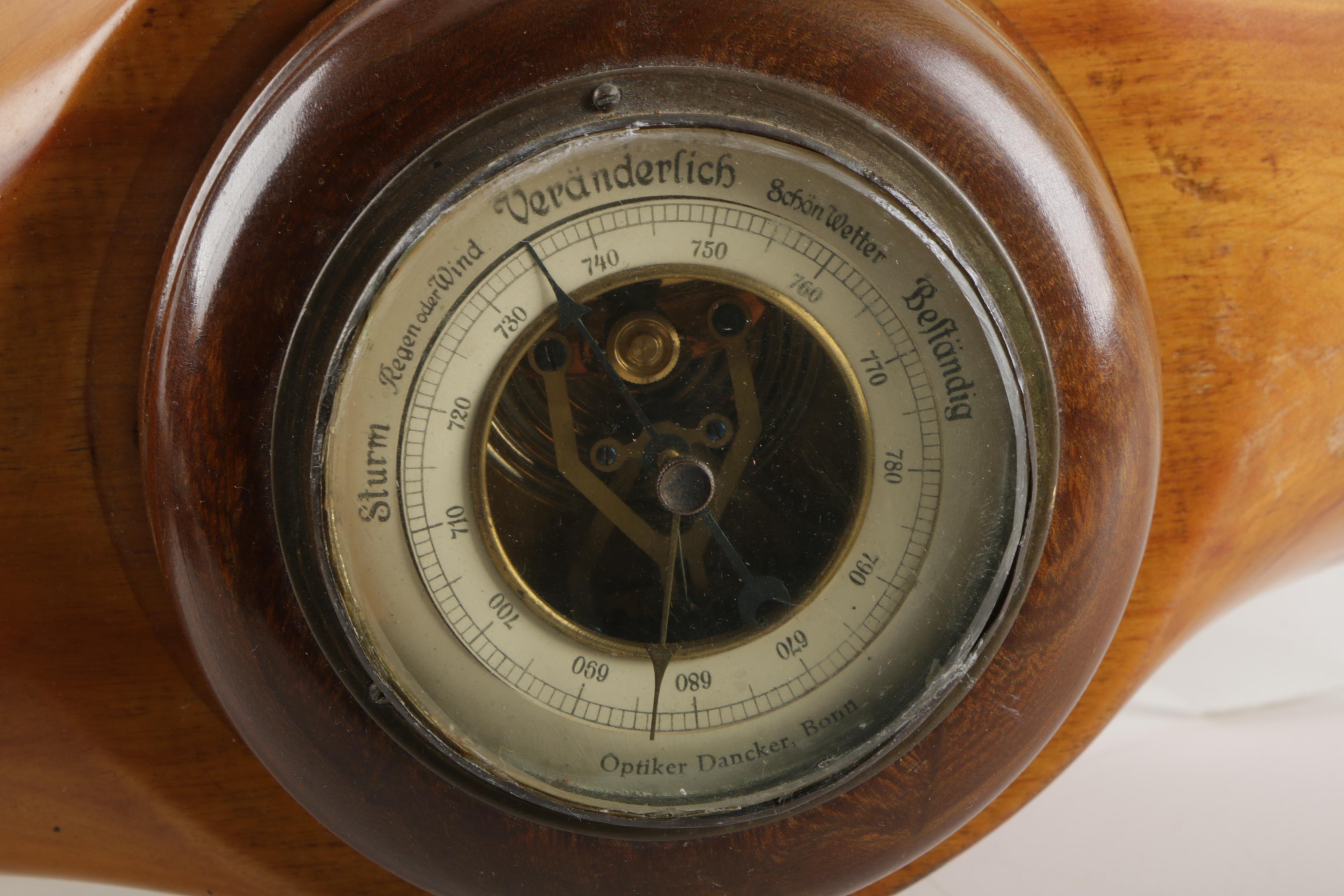 German Barometer Set in World War II Era Wooden Airplane Propeller
