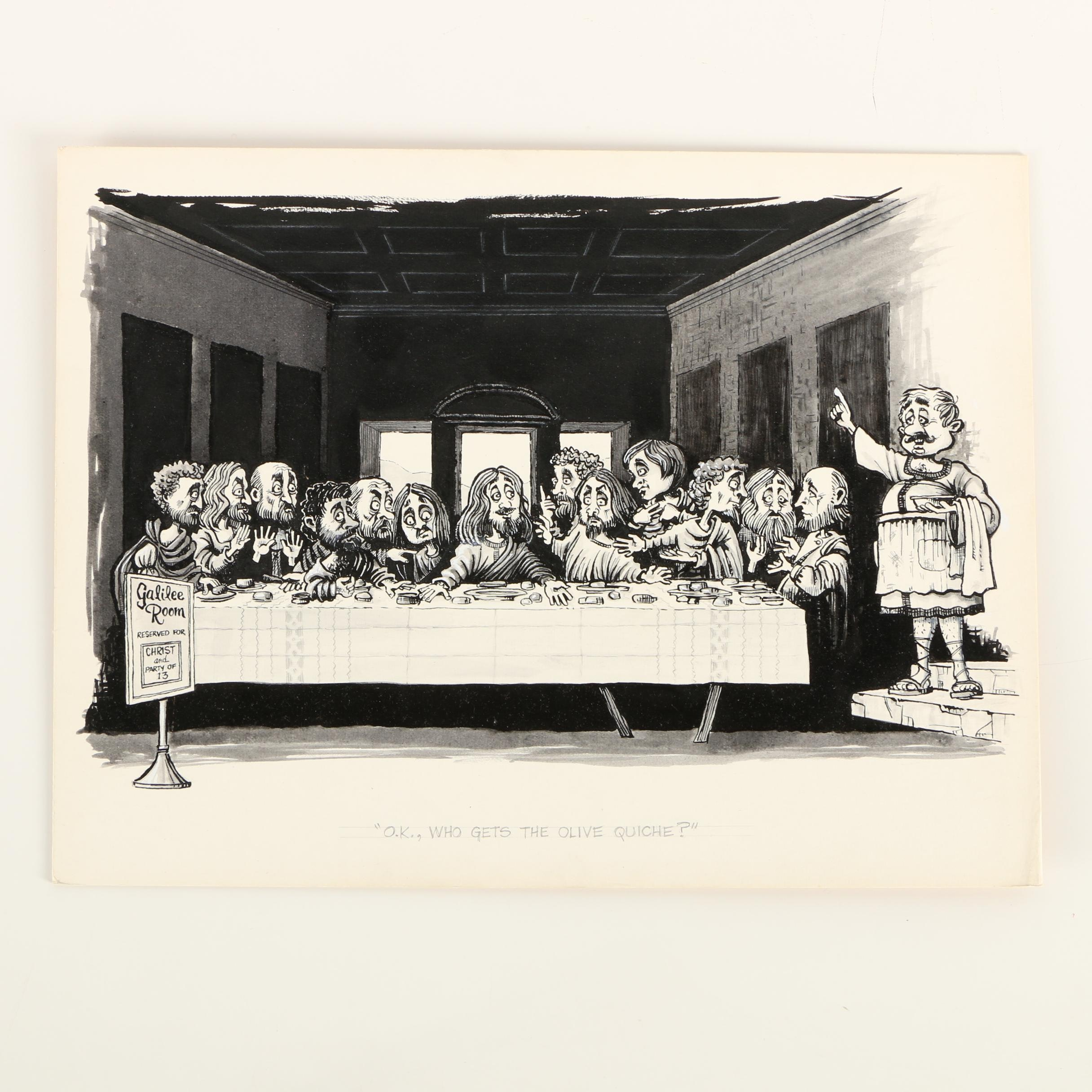 """Norman P. Wadell Ink Drawing """"O.K., Who Gets the Olive Quiche?"""""""