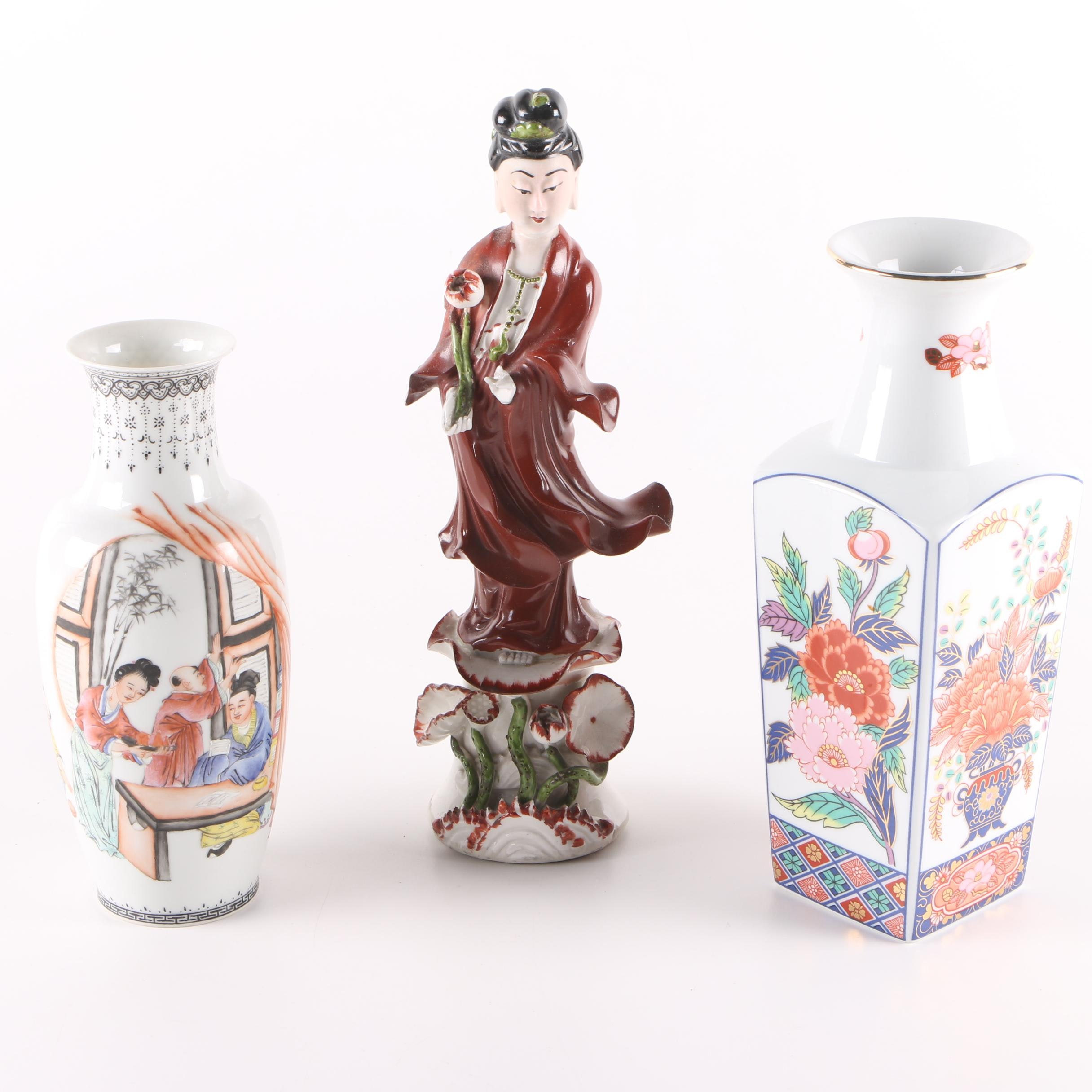 East Asian Ceramic Vases and Guanyin Figurine
