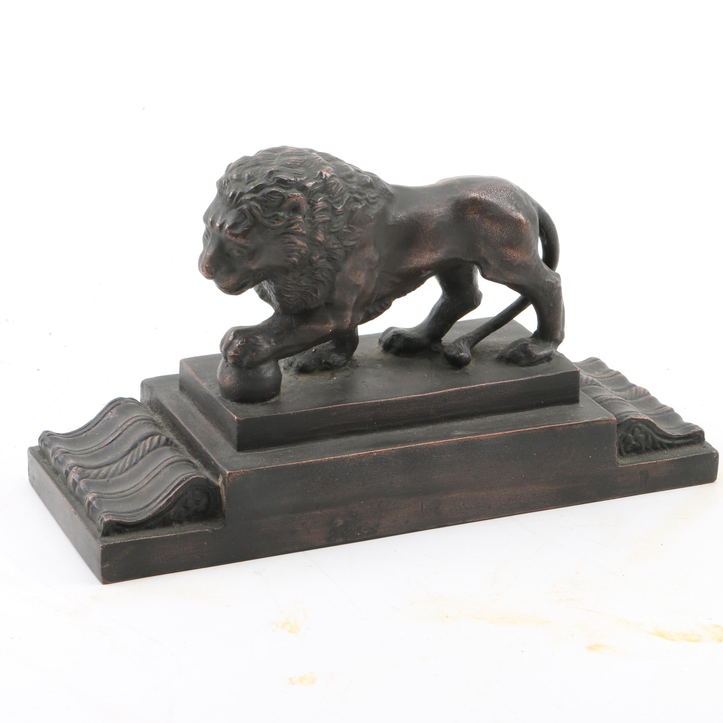 Metal and Wood Lion Statuette