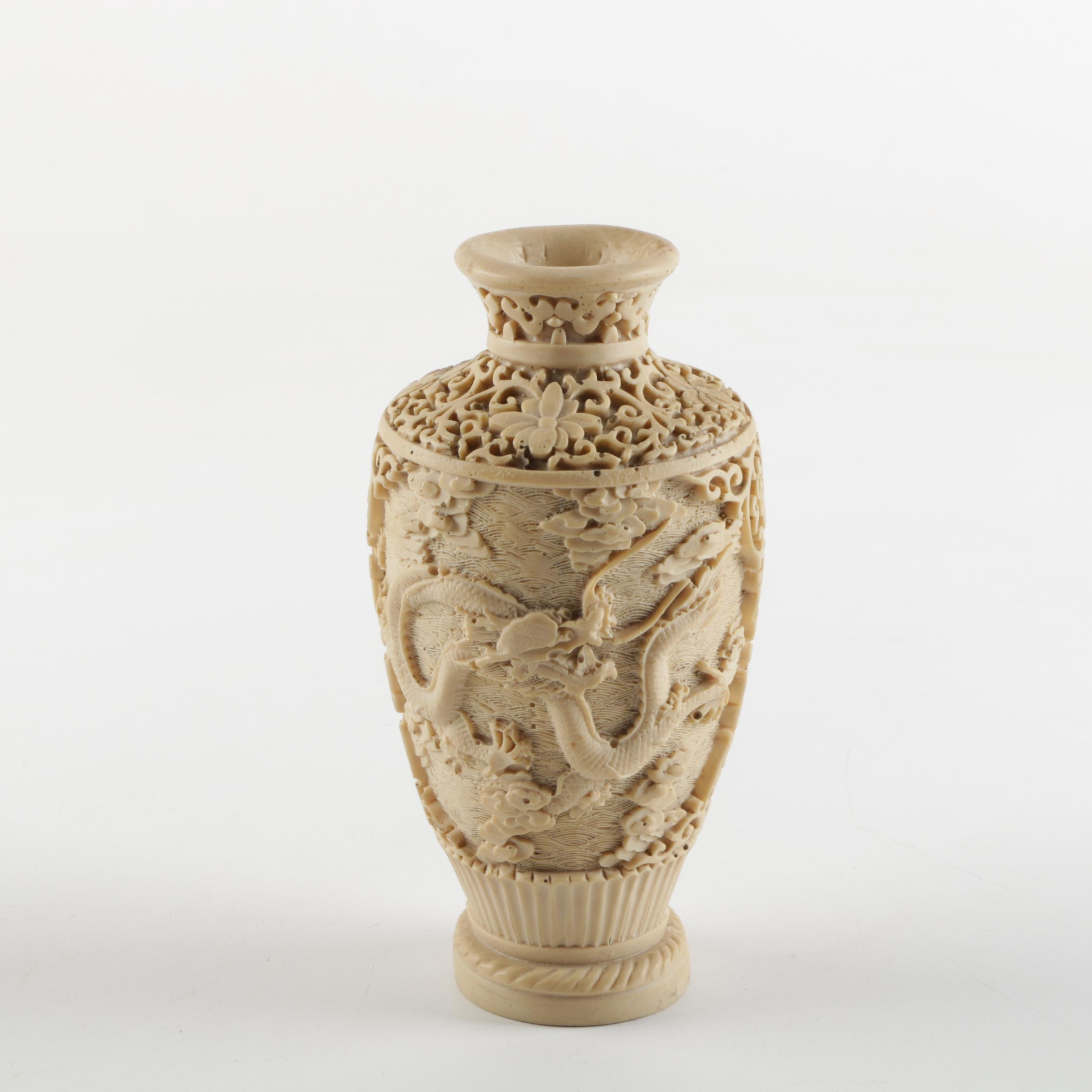 Chinese Hand Carved Resin Vase