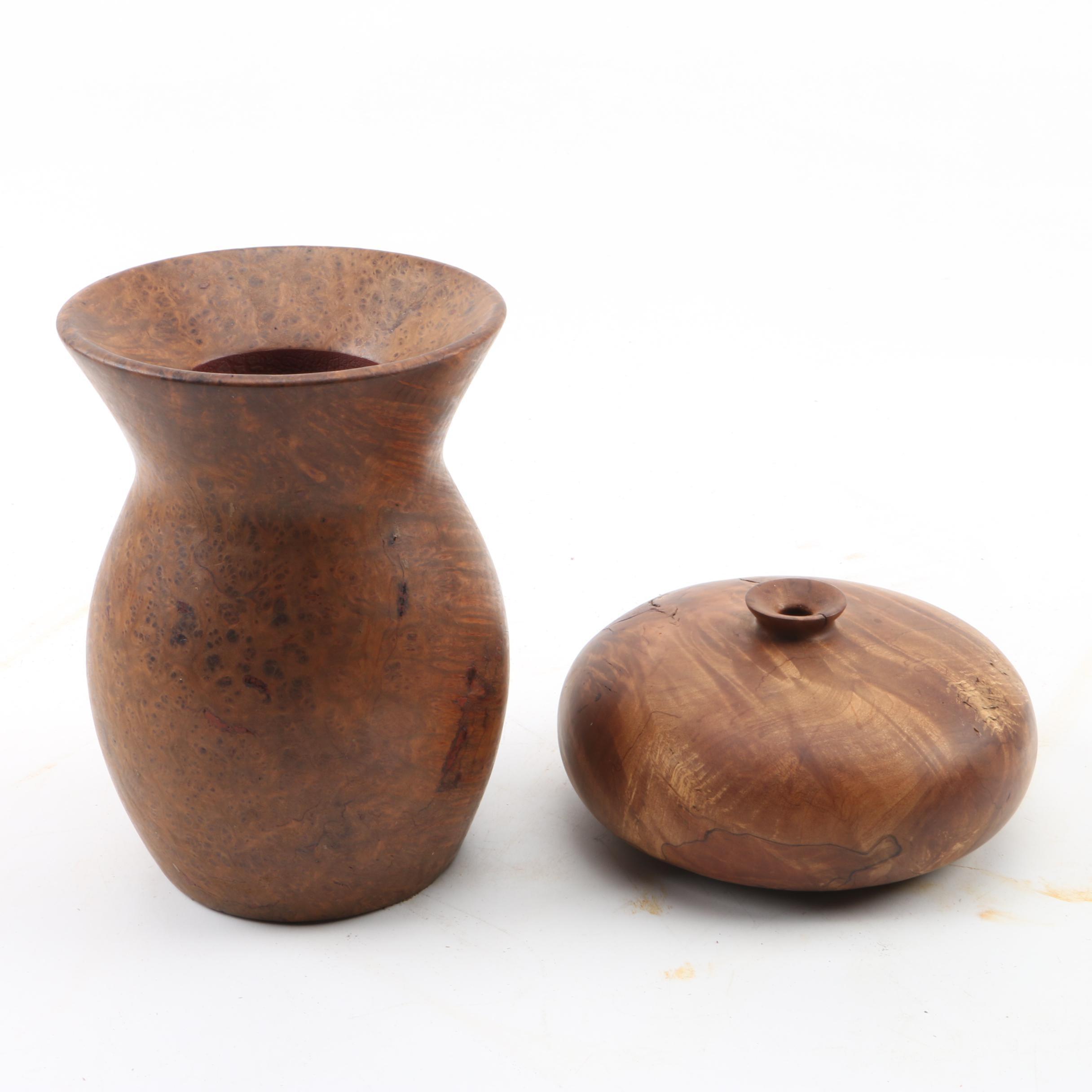 Burled Wood Vases Including Jim Robbie