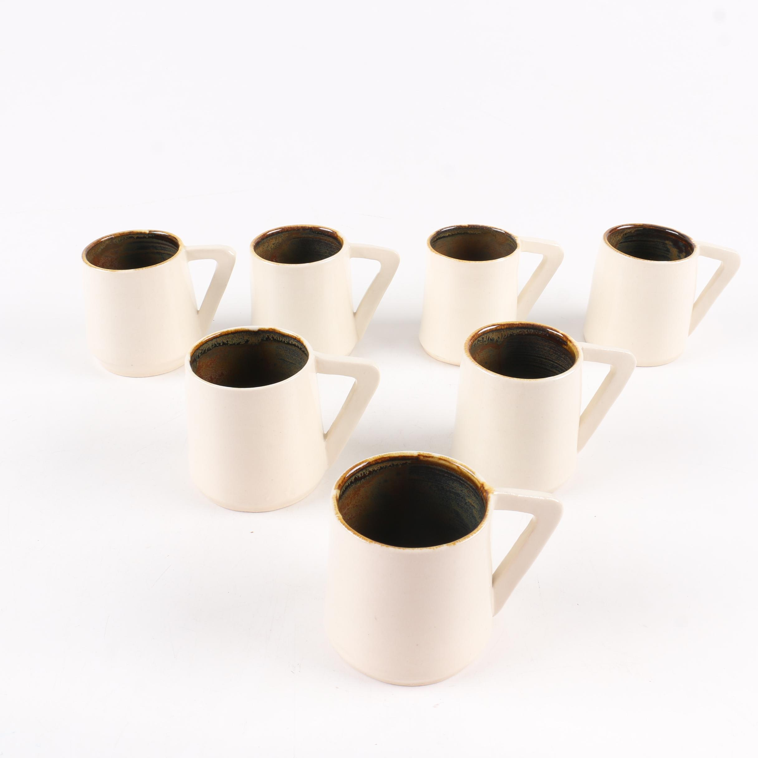 Joy Pottery White and Brown Coffee Mugs