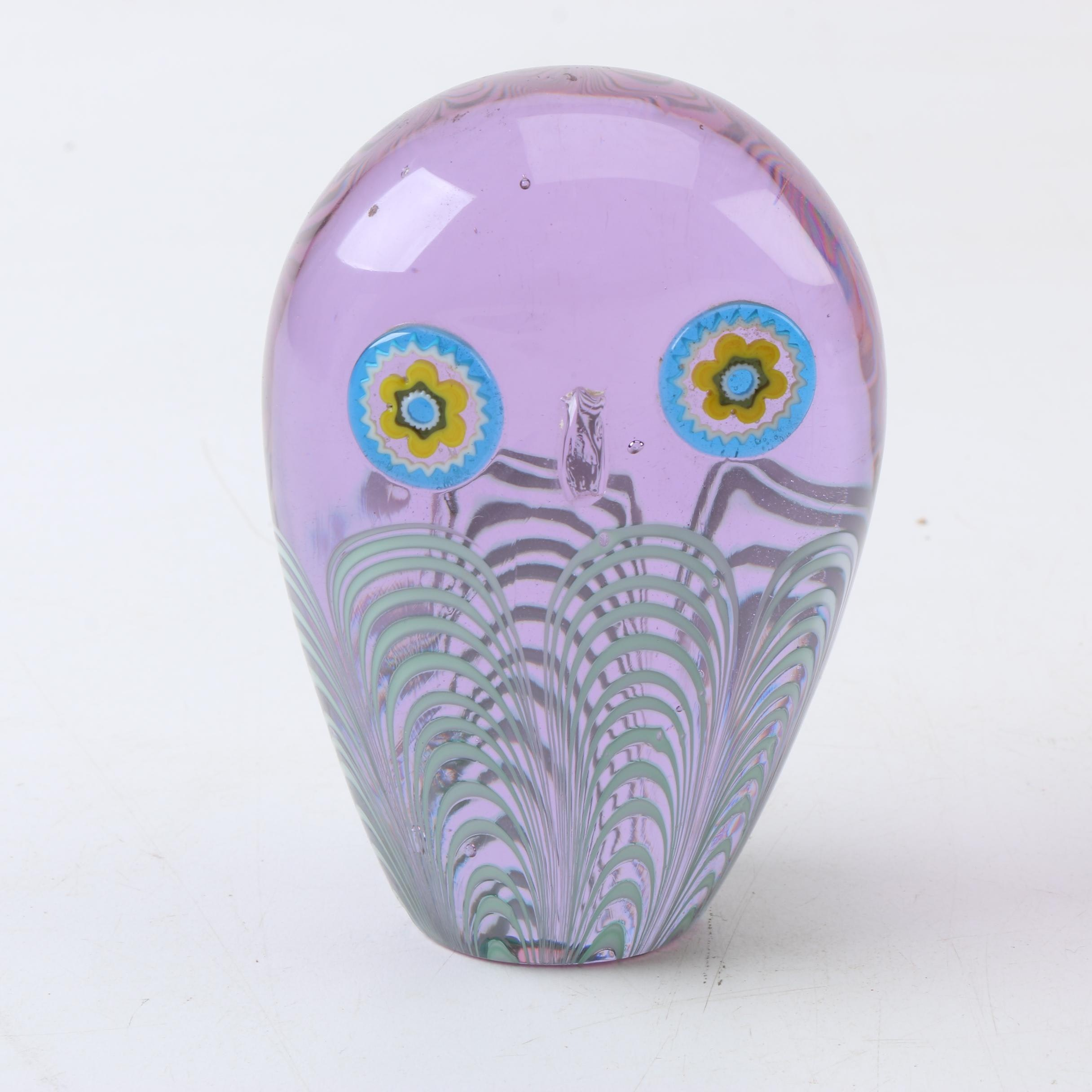 Murano Style Combed Glass Owl Paperweight