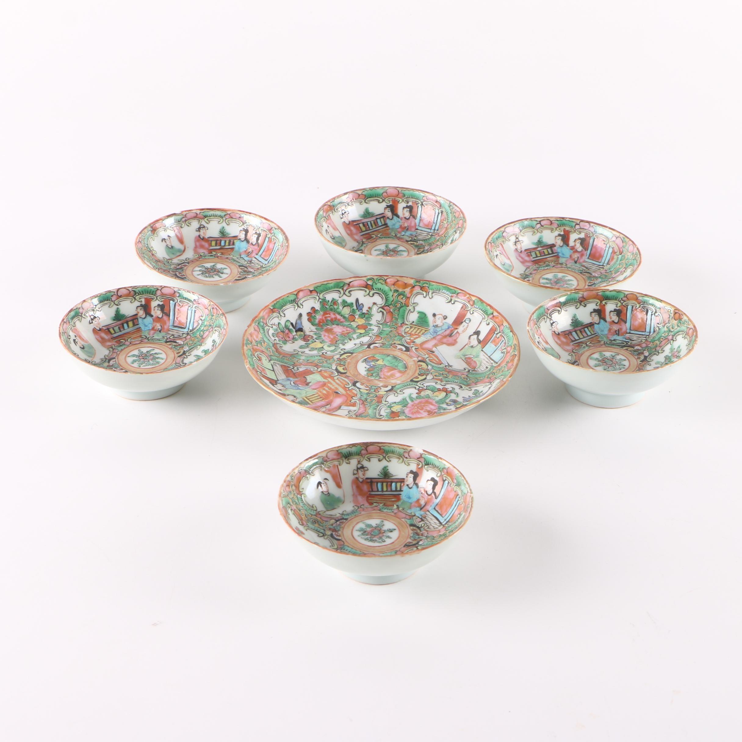 Chinese Rose Medallion Porcelain Serveware Set