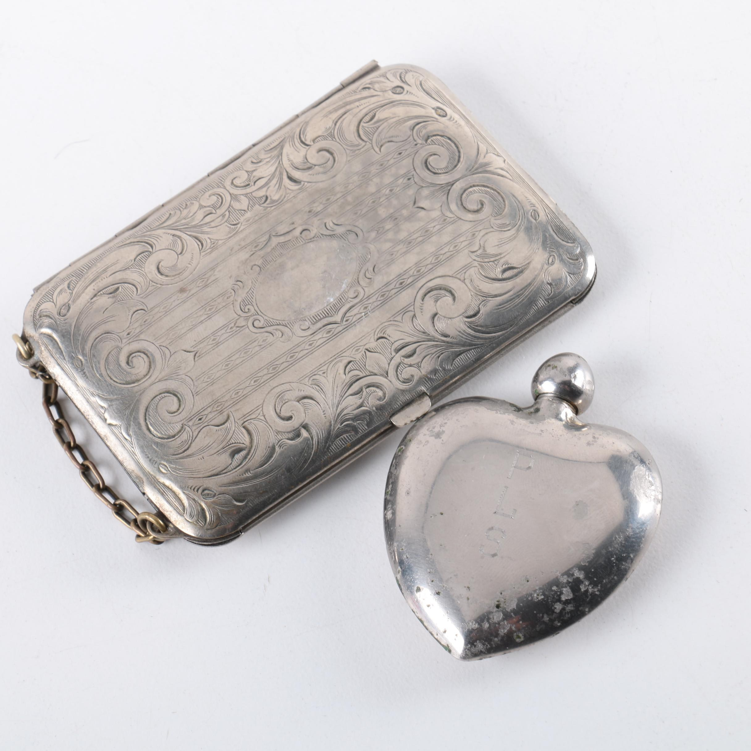 Vintage Silver Plate Coin Purse and Heart Perfume Bottle
