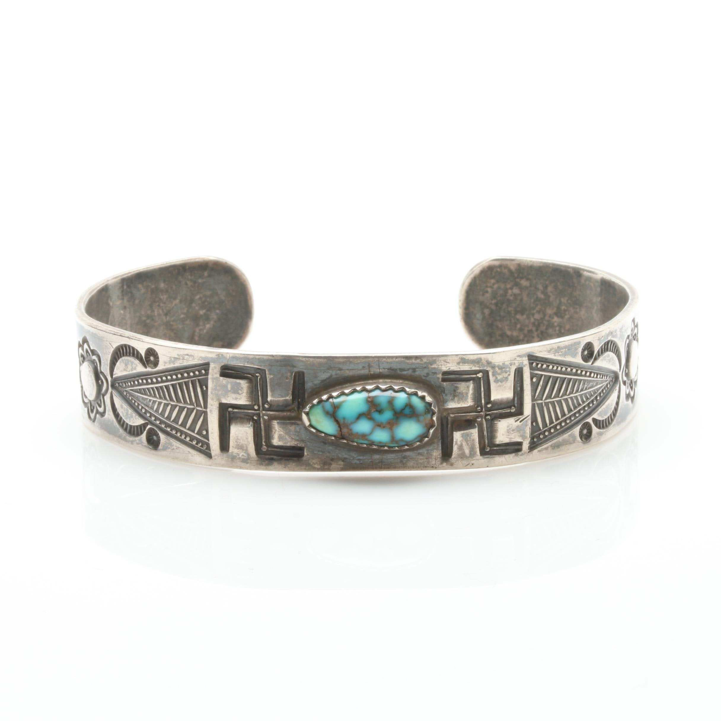 Fred Harvey Railroad Era Sterling Silver Spiderweb Turquoise Cuff Bracelet