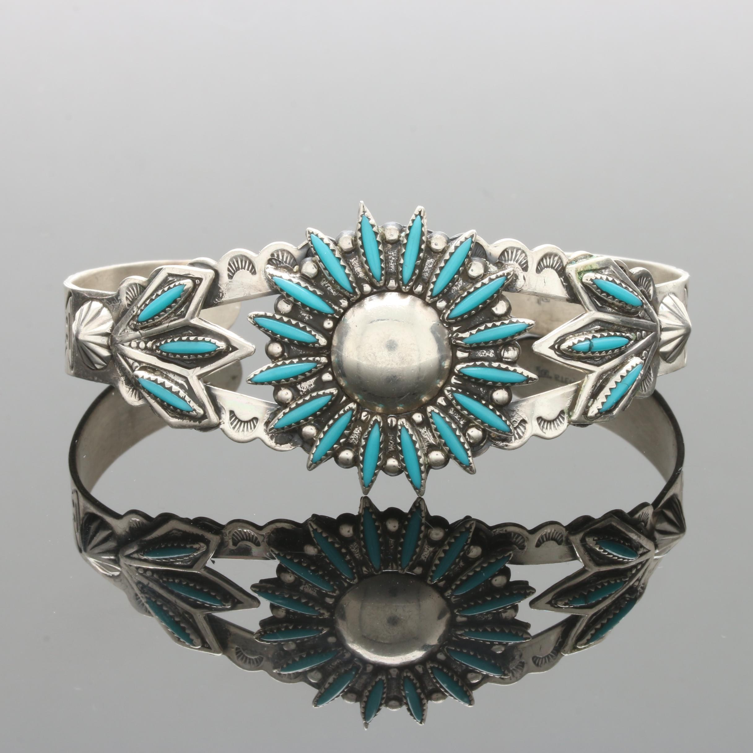 Bell Trading Post Southwestern Style Sterling Silver Turquoise Cuff Bracelet