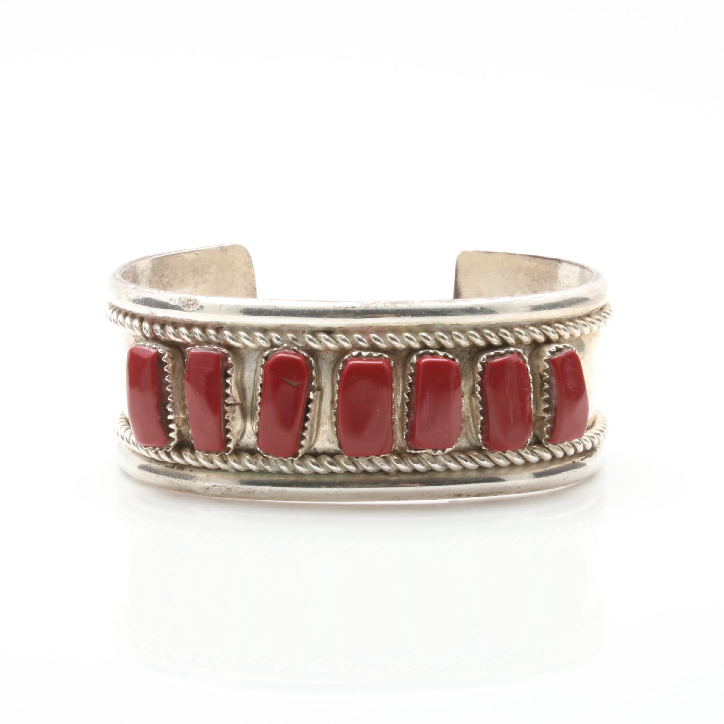 Southwestern Styled Sterling Silver Imitation Coral Cuff Bracelet