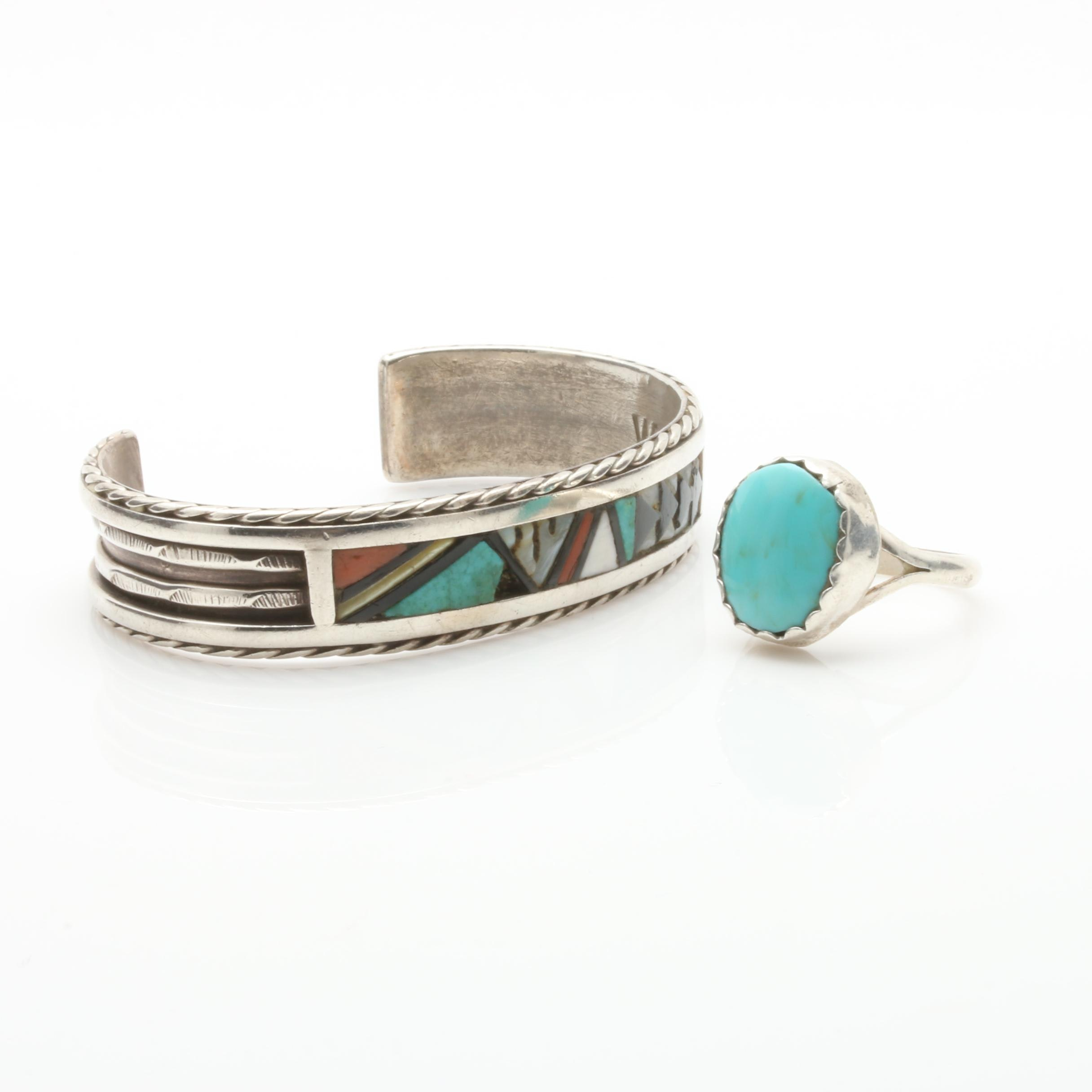 Southwestern Style Sterling Silver Imitation Turquoise Ring and Inlay Bracelet