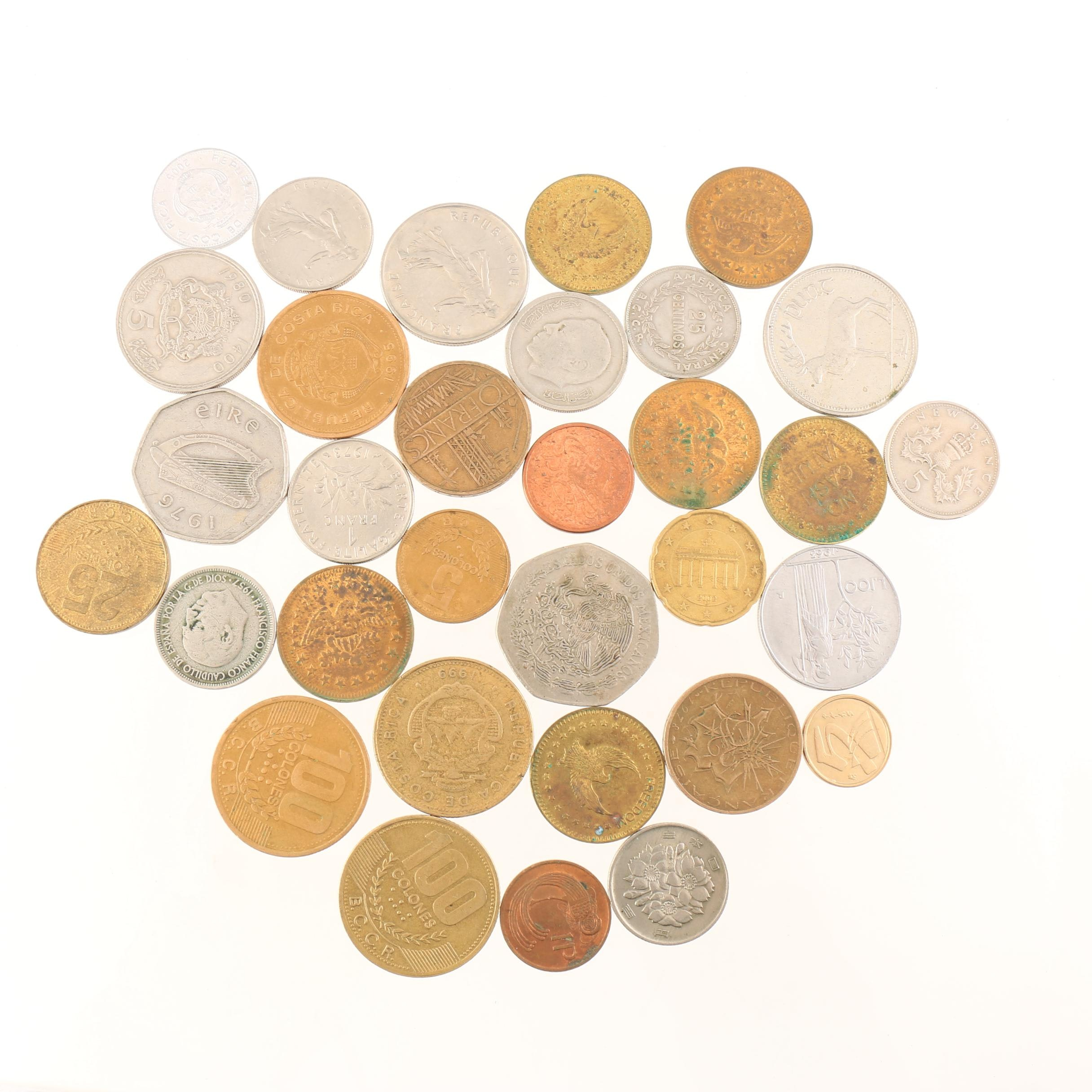 Group of Thirty-Two Foreign Coins and Tokens