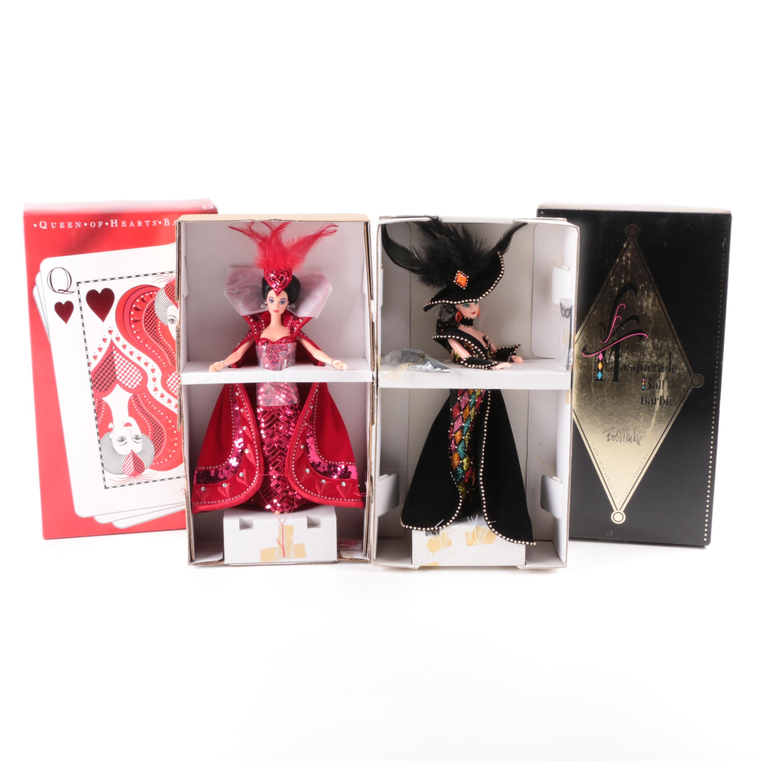 """Mattel """"Queen of Hearts"""" and """"Masquerade Ball"""" Barbie Dolls by Bob Mackie"""
