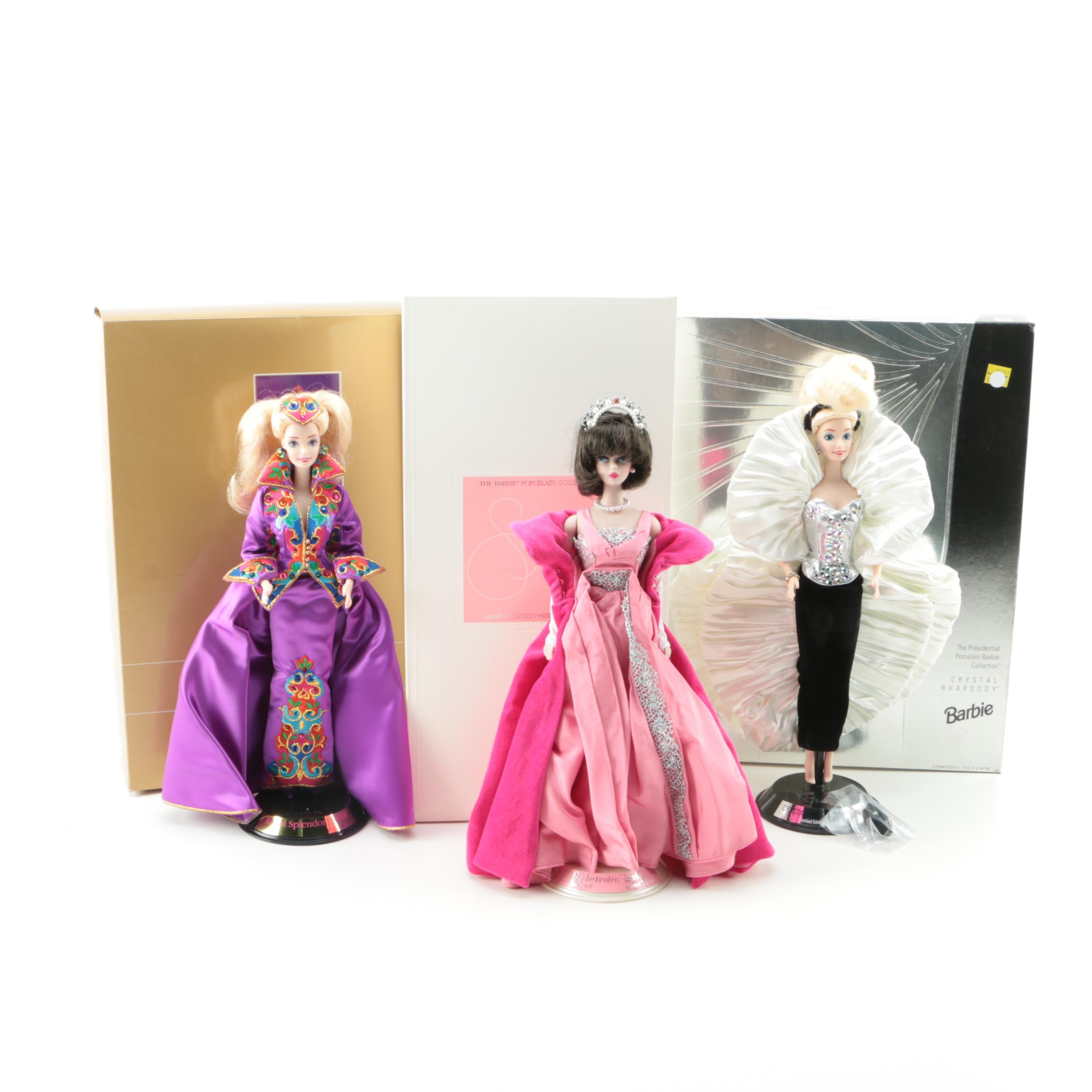 """Mattel Porcelain Collection Barbie Dolls Featuring """"Crystal Rhapsody"""""""