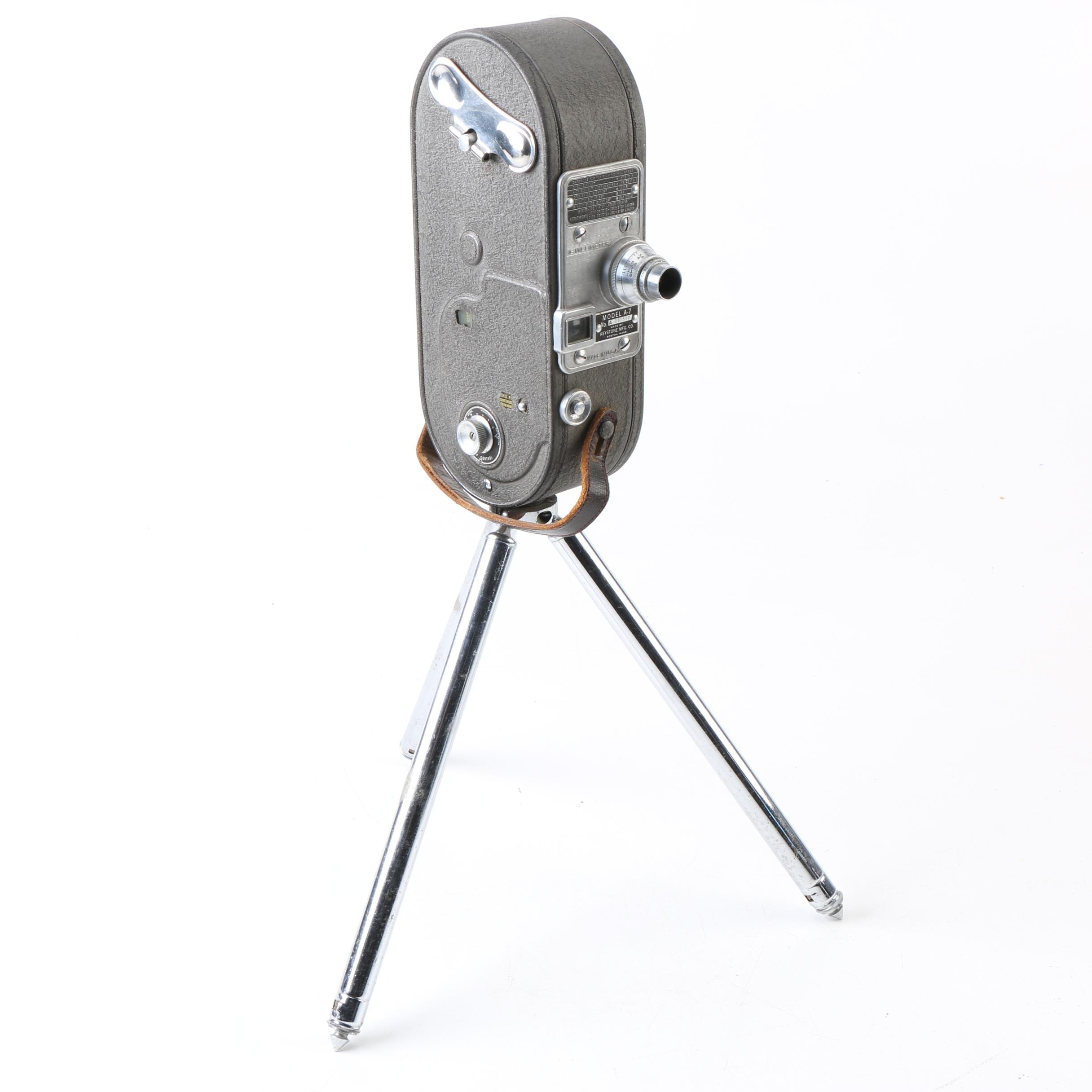 Vintage Keystone A-7 16mm Movie Camera with Tripod