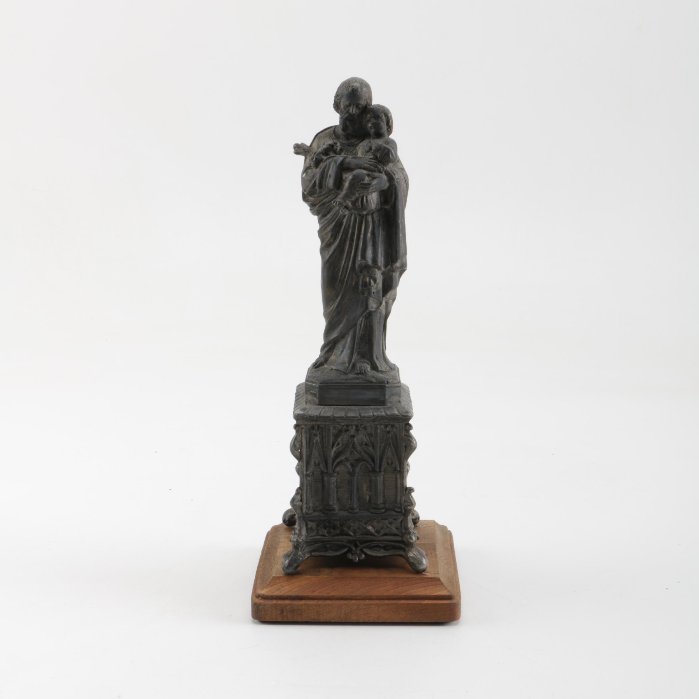 Metal Saint Anthony Figurine on Wood Stand