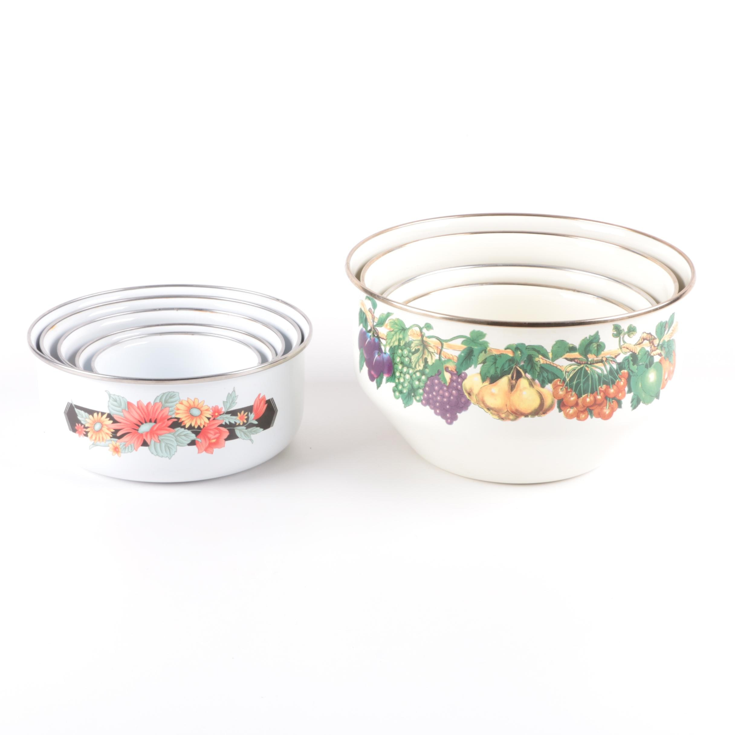 Enamelware Including Tabletops Unlimited Fruit Patterned Mixing Bowls