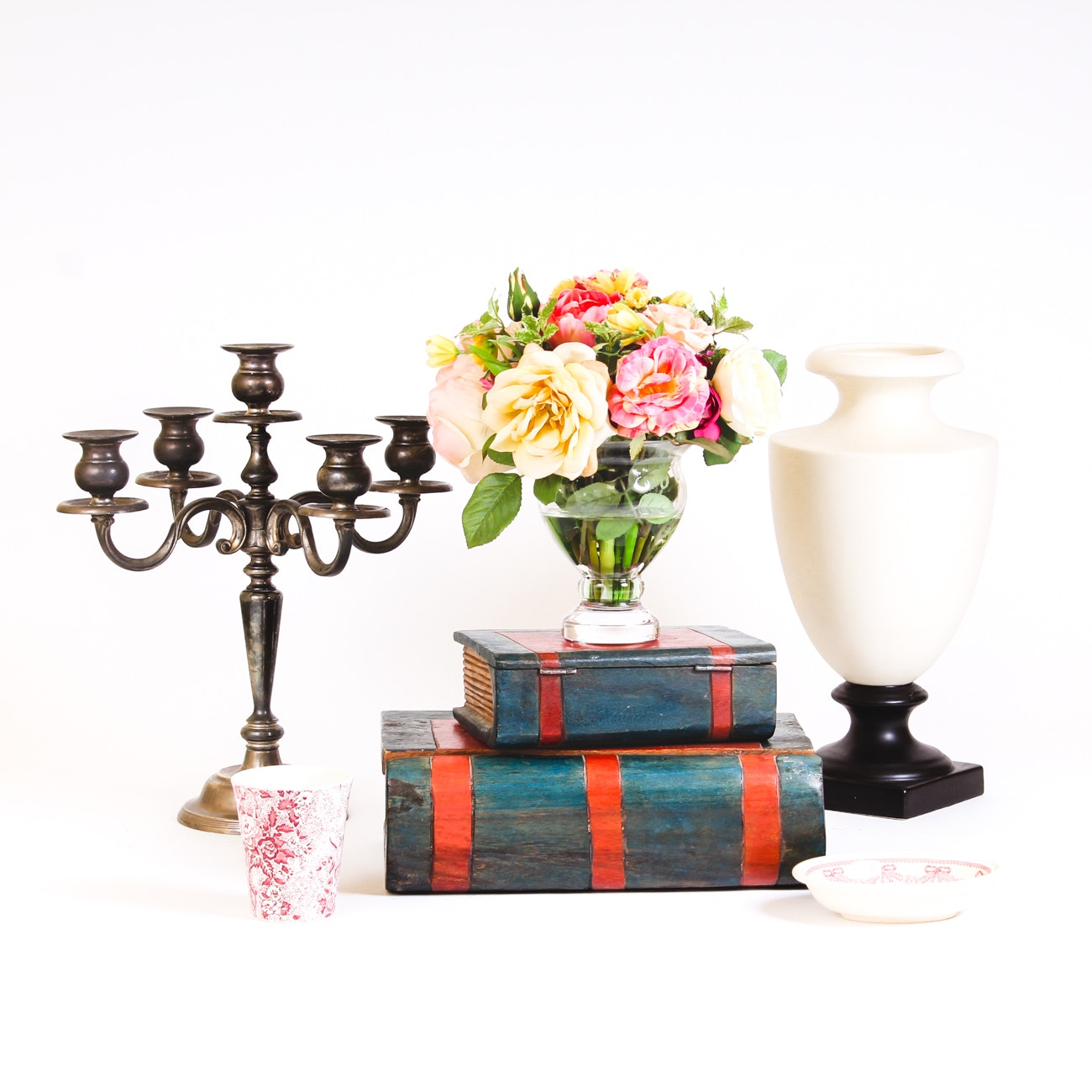 Decor Grouping Including Urn, Candelabra, Decorative Boxes and Other Decor