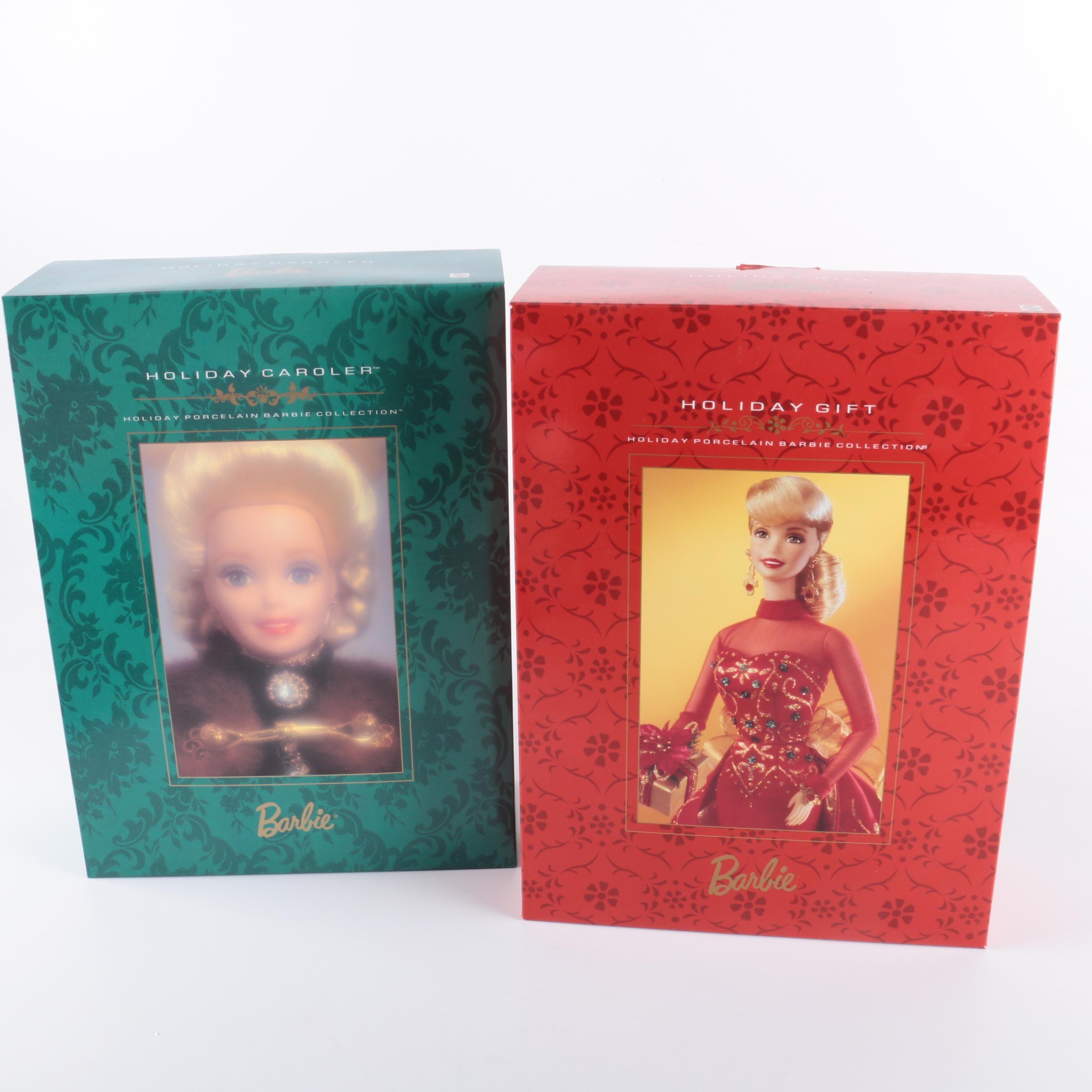 """Vintage Mattel """"Holiday Porcelain Barbie Collection"""" Barbie Dolls"""
