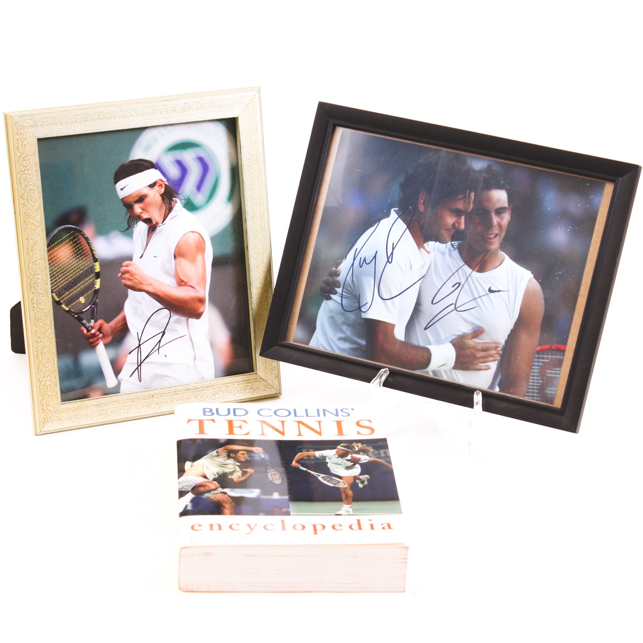 Signed Photos of Roger Federer, Rafael Nadal and Signed Bud Collins' Tennis Book