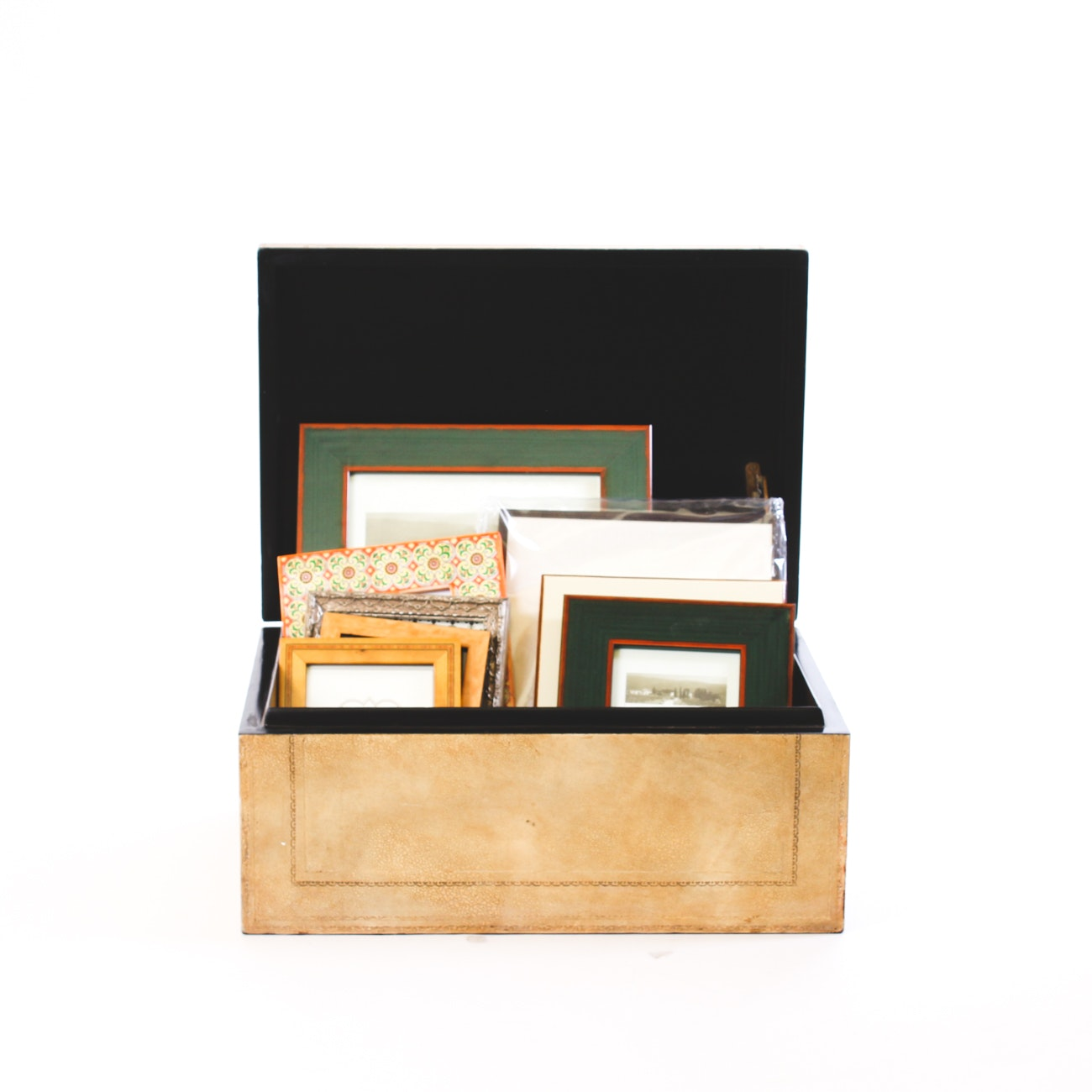 Wooden Box with Assorted Photo Frames