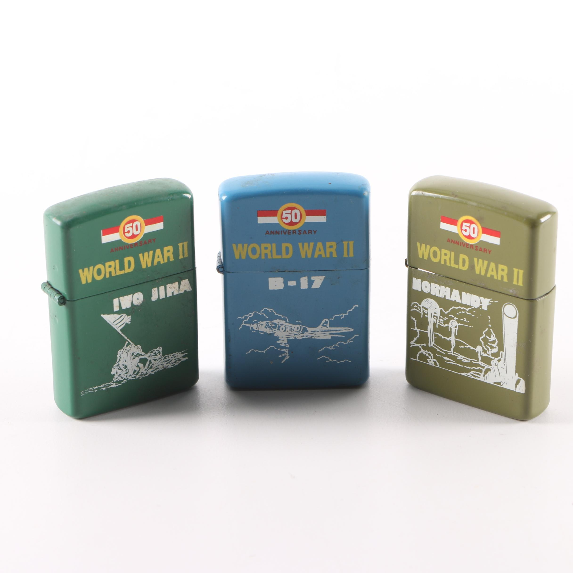 Vintage Zippo WWII 50th Anniversary Commemorative  Lighters