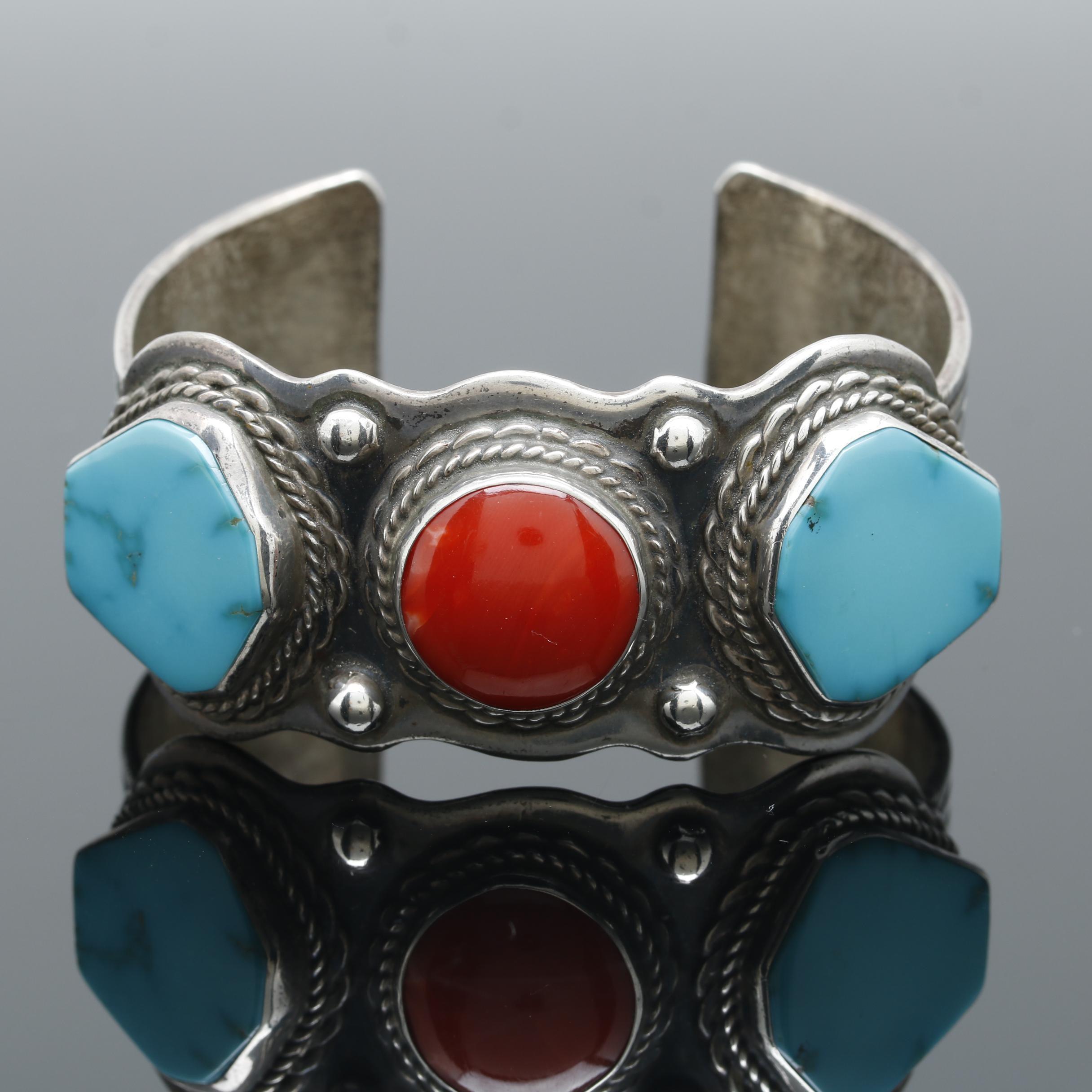 Southwestern Style Sterling Silver Three Stone Cuff