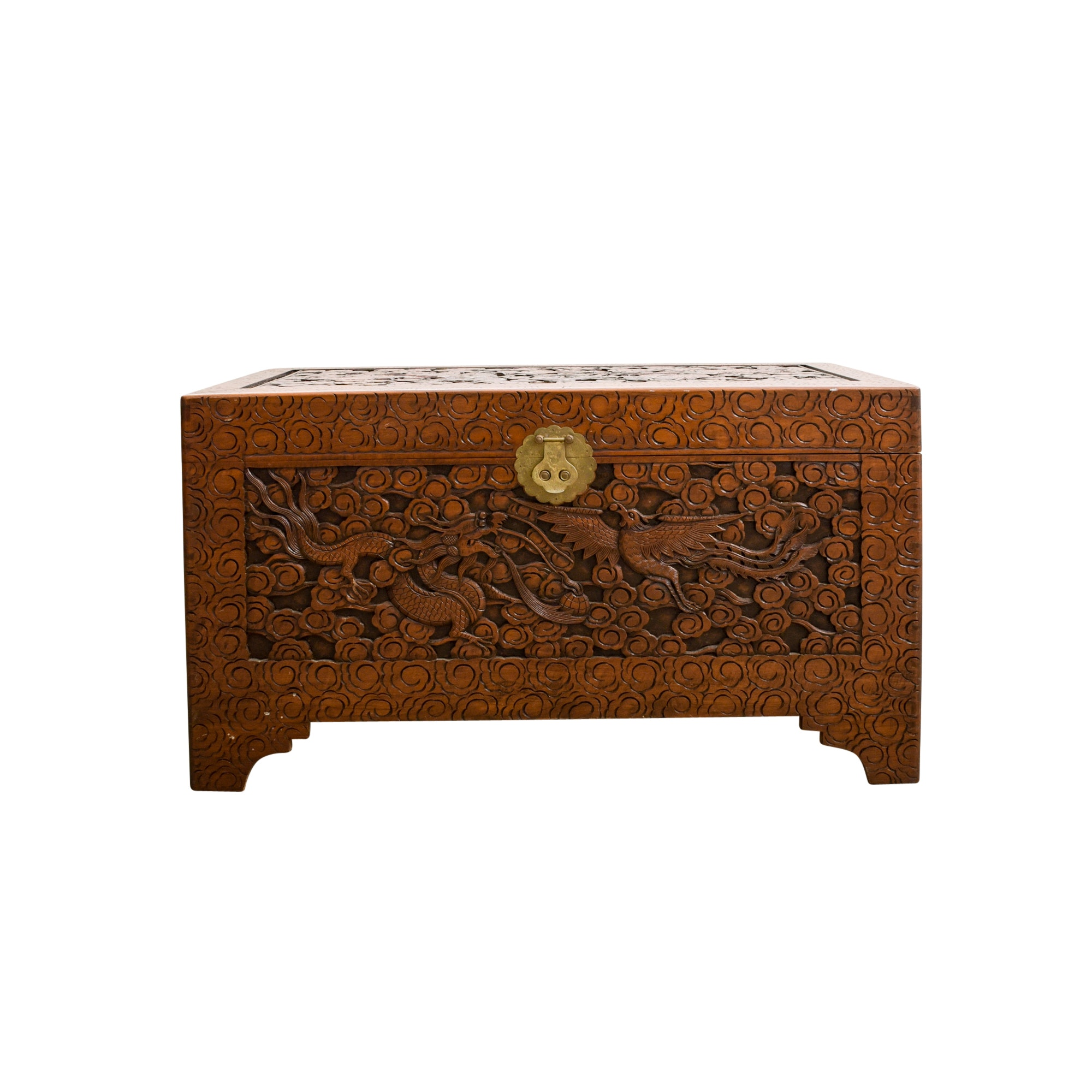 Chinese Carved Teak Chest