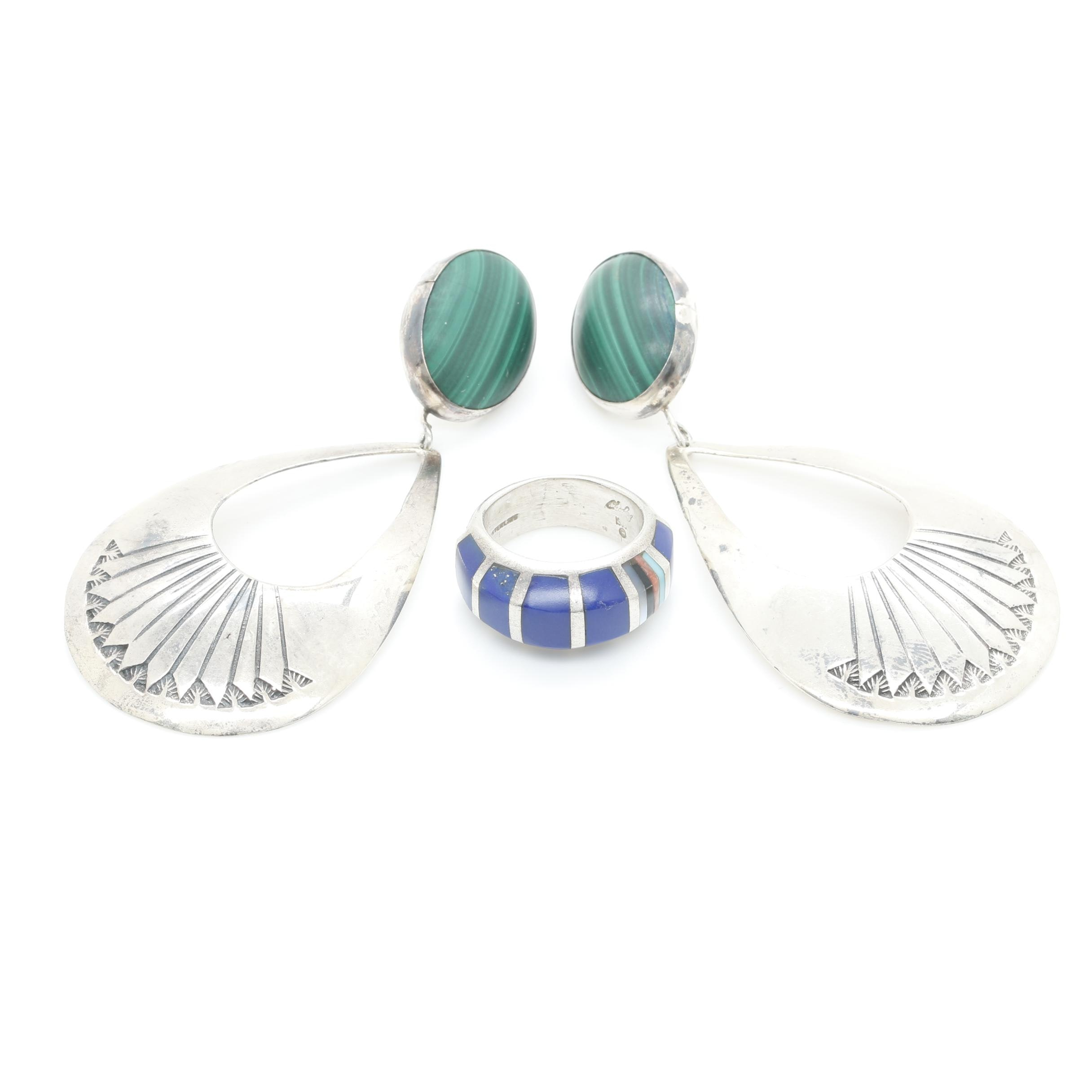 Southwestern Style Sterling Malachite Earrings and Imitation Lapis Lazuli Ring