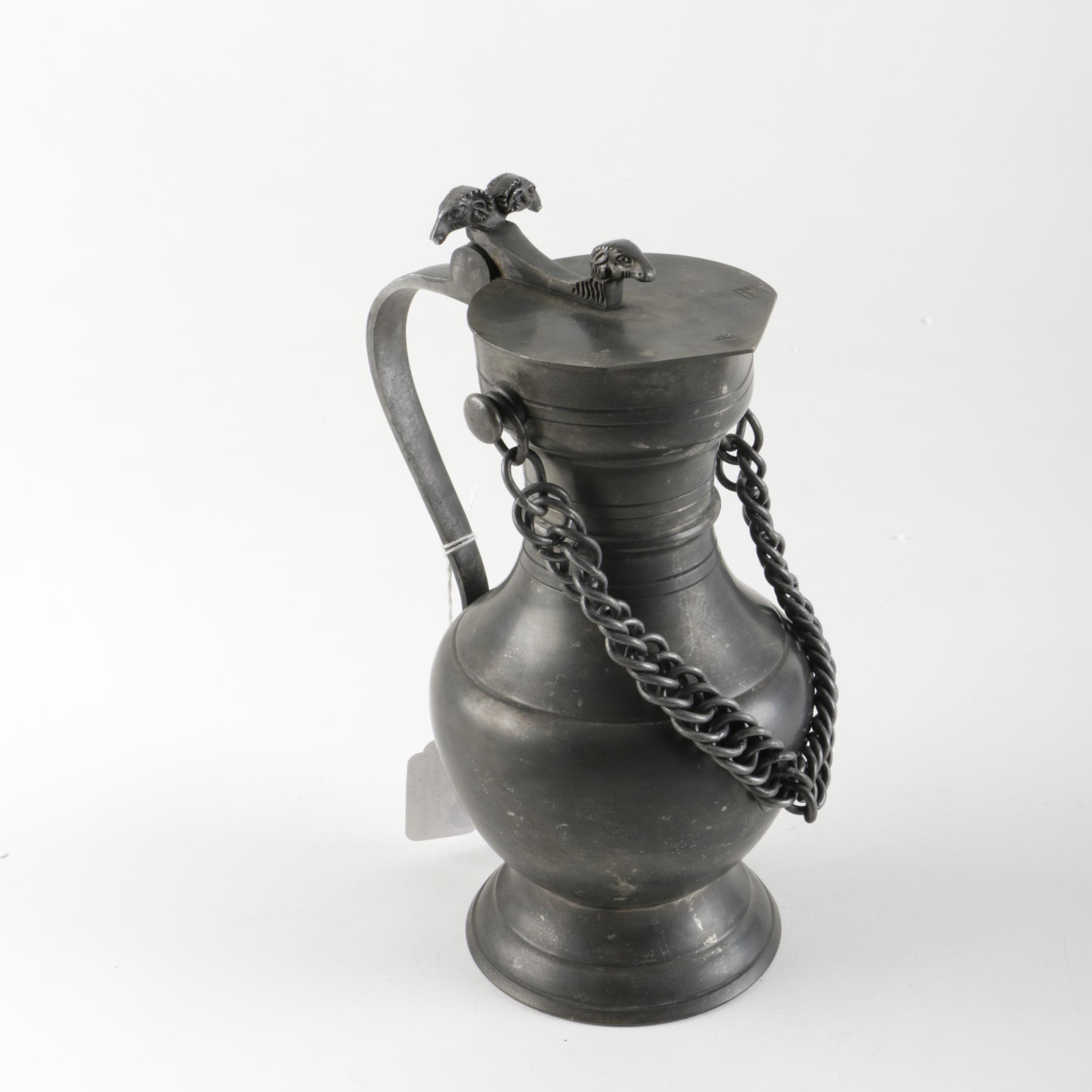 Pewter Flagon with Ram Shaped Accents