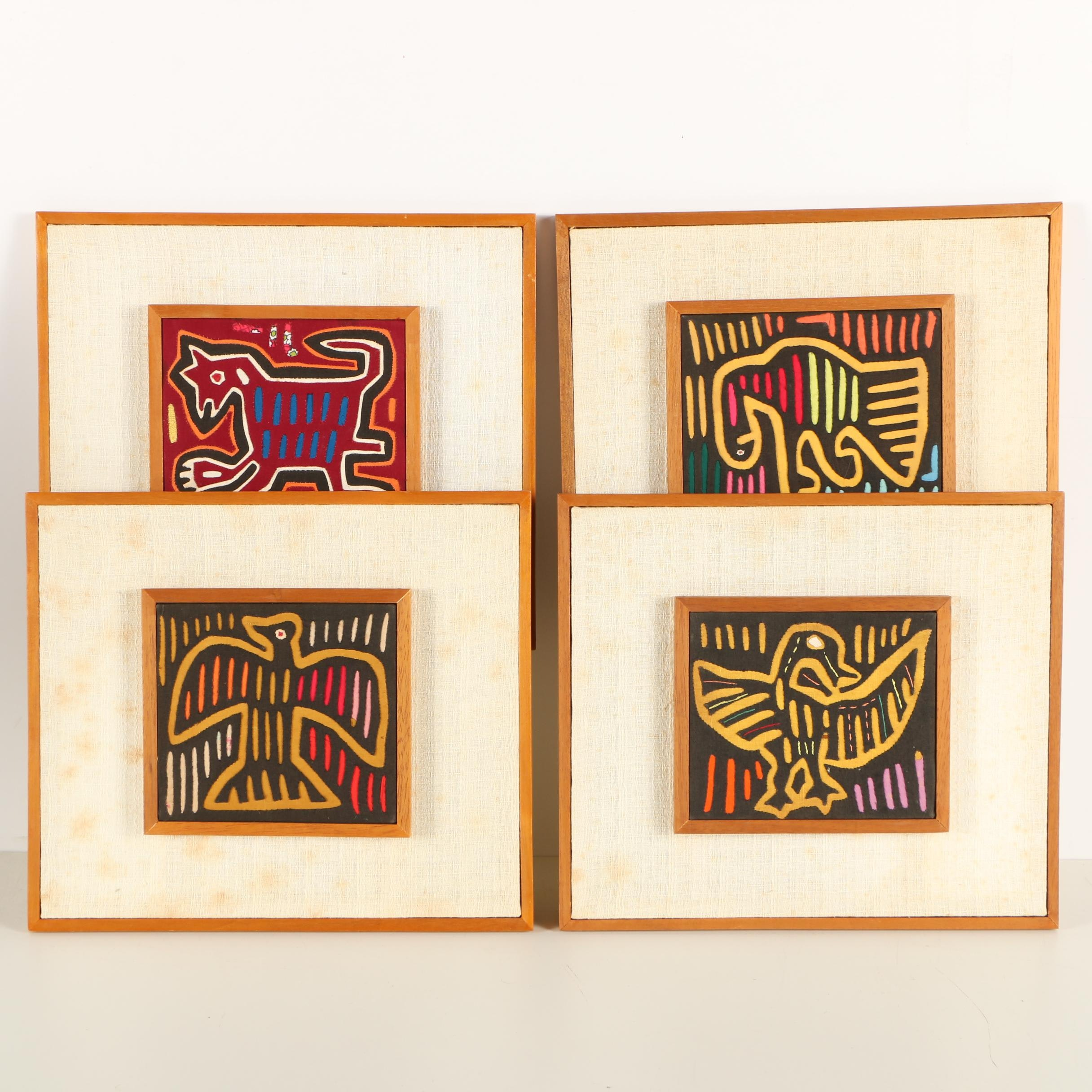 Collection of Framed Guna Mola Textile Panels
