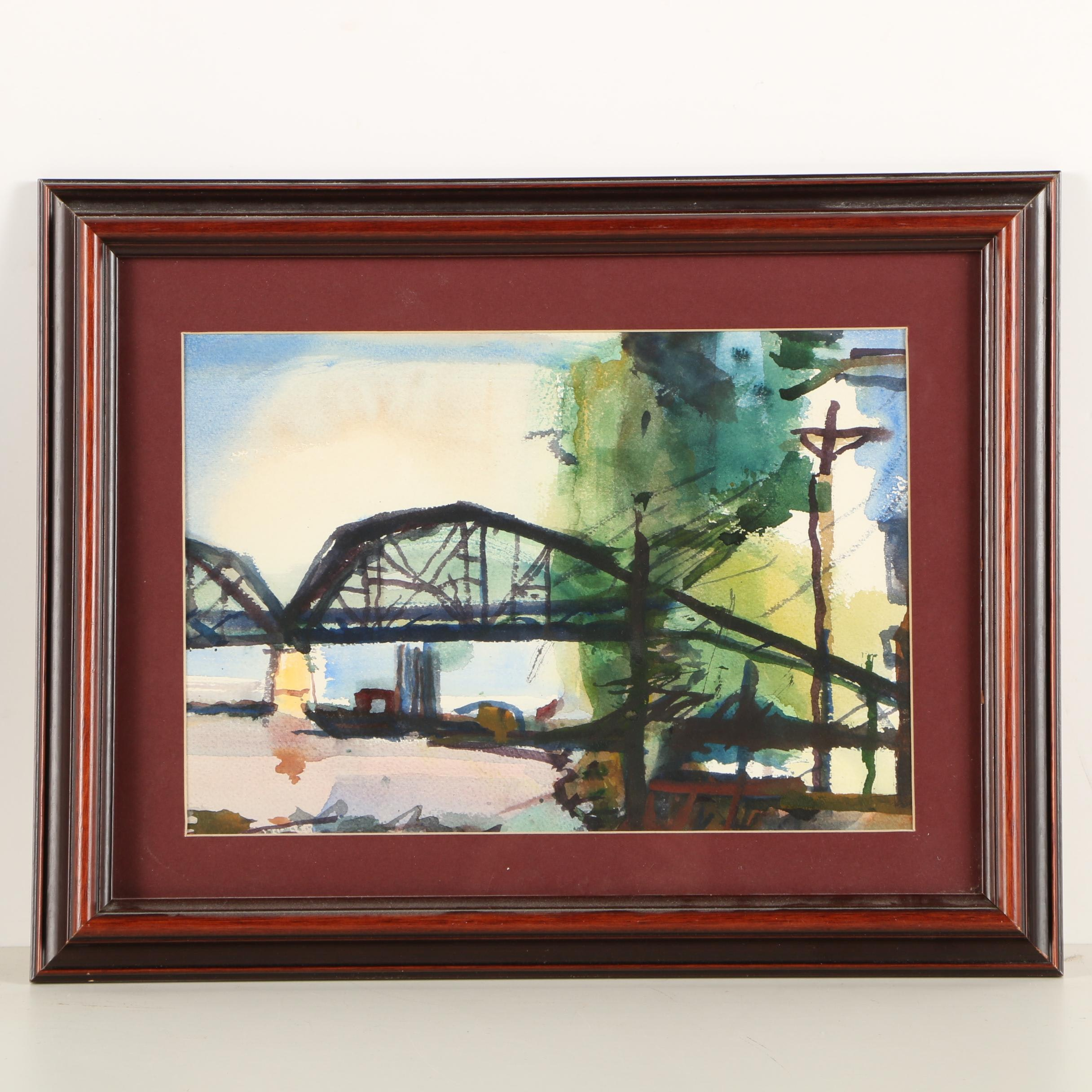 Watercolor Painting of Bridge Scene