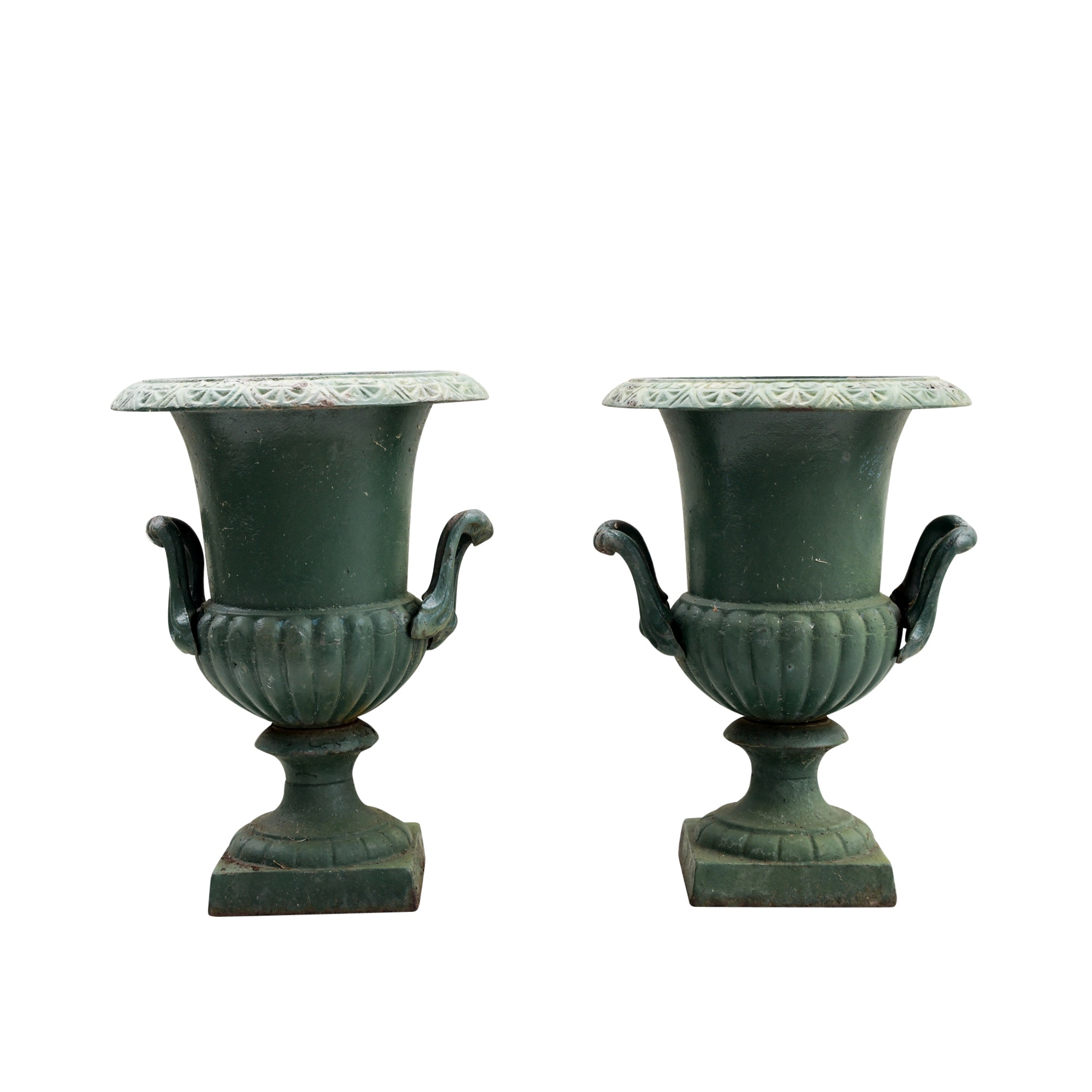 Green Painted Classical Style Cast Iron Planters