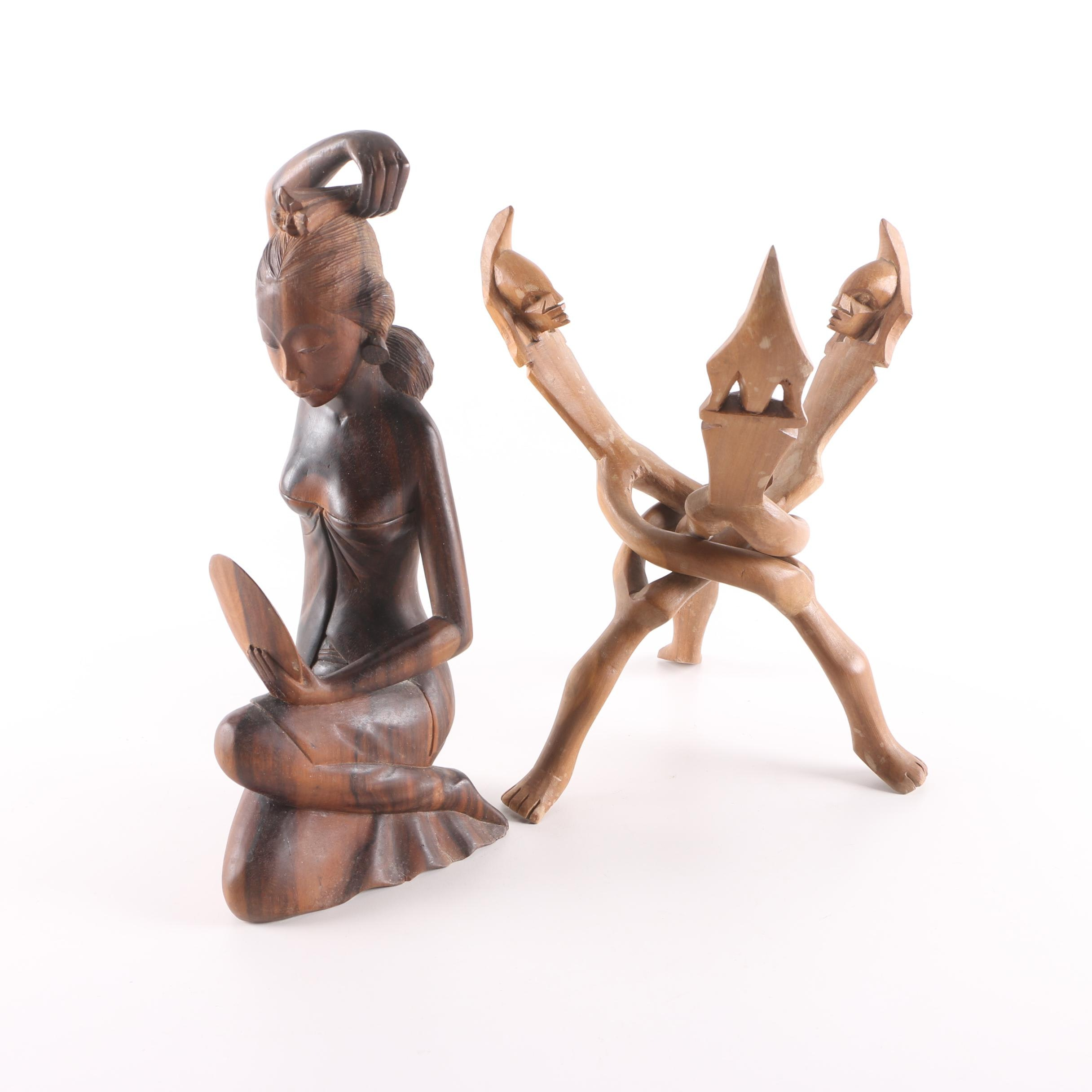 Figural Wood Cobra Stand and Carving