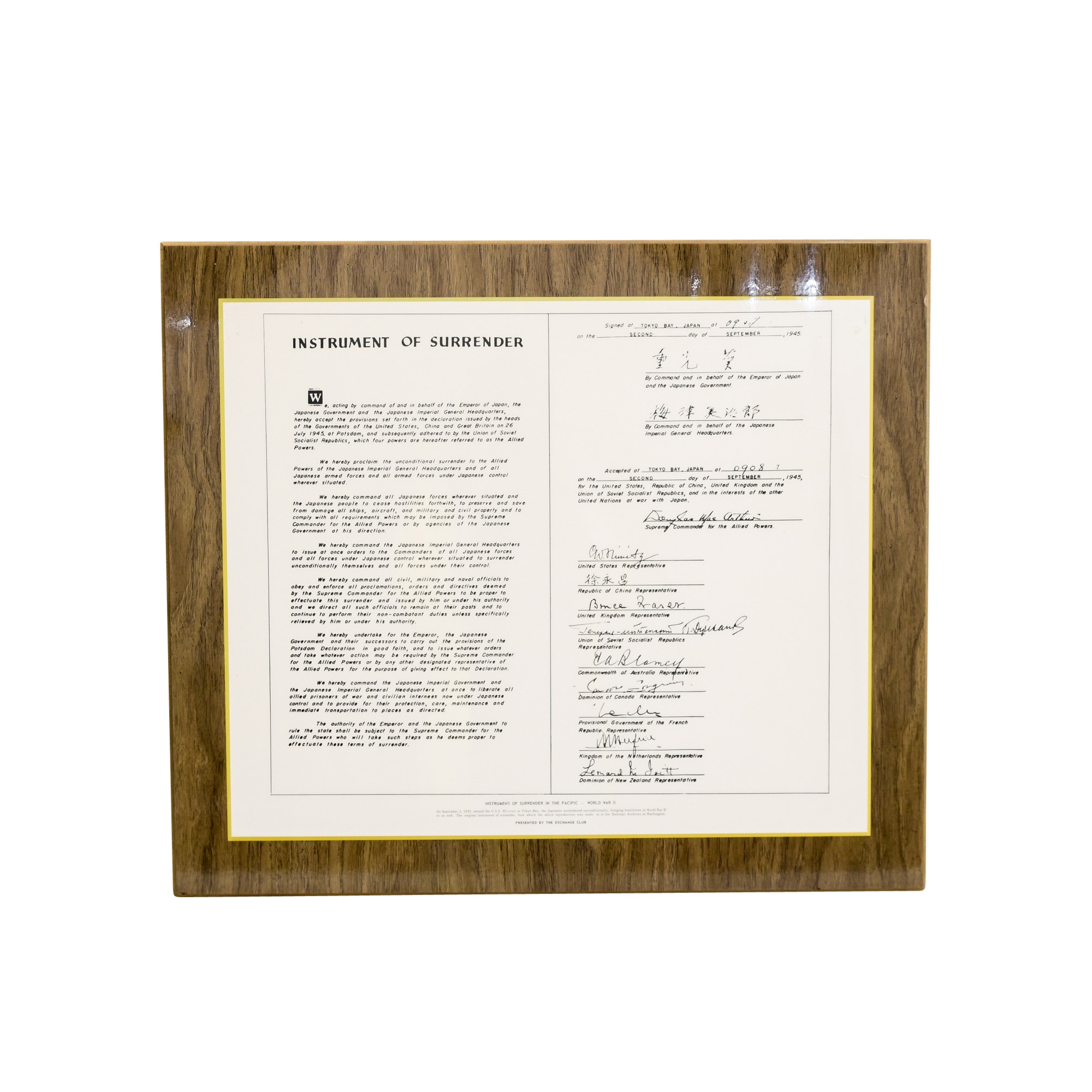 WWII Japanese Instrument of Surrender Reproduction Document
