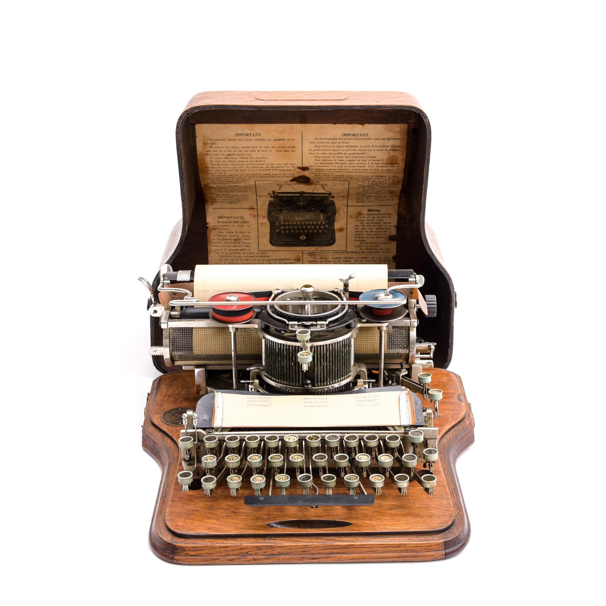 1910s Hammond Multiplex Typewriter with Interchangeable Type Shuttle Design