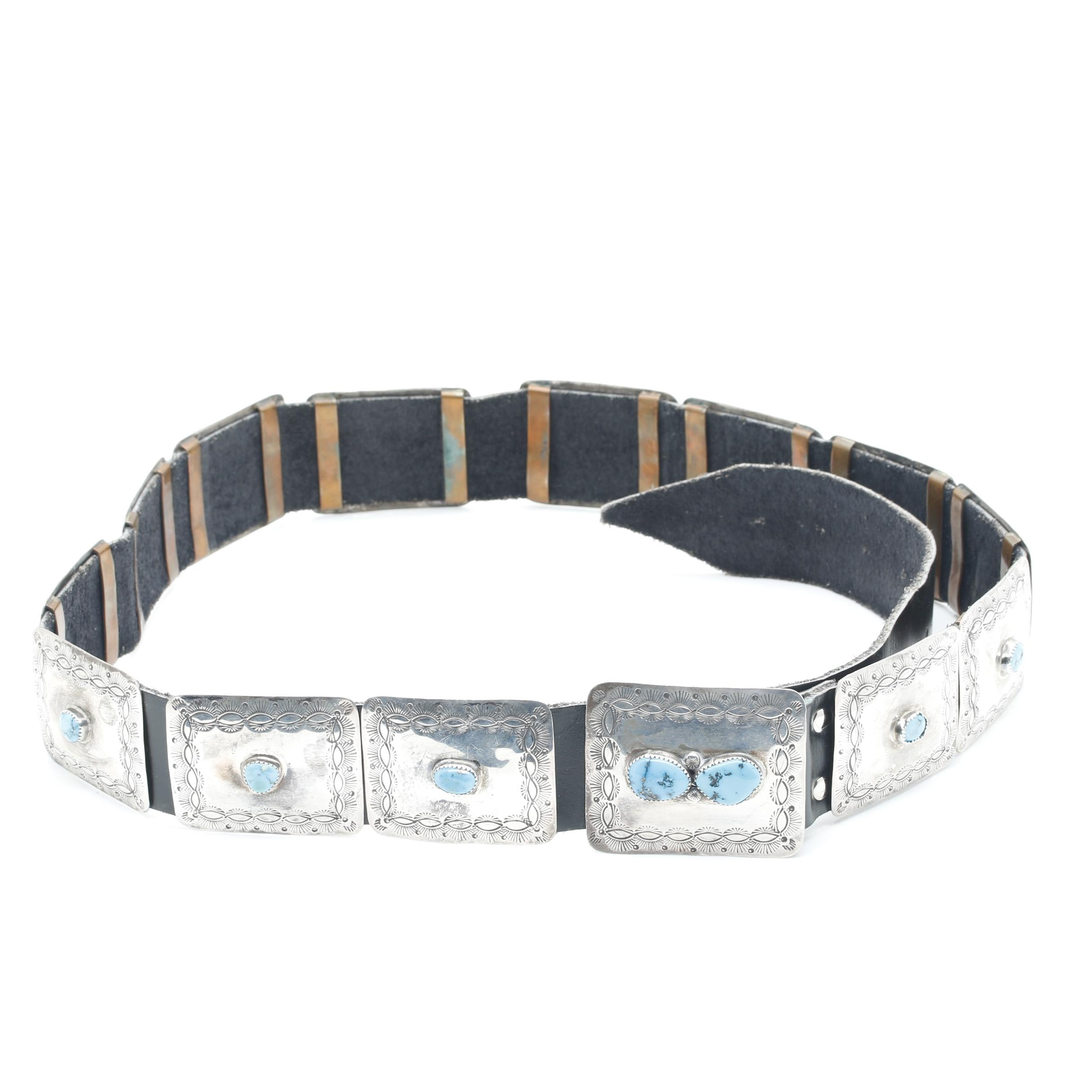 Southwestern Style Sterling Silver Turquoise Belt