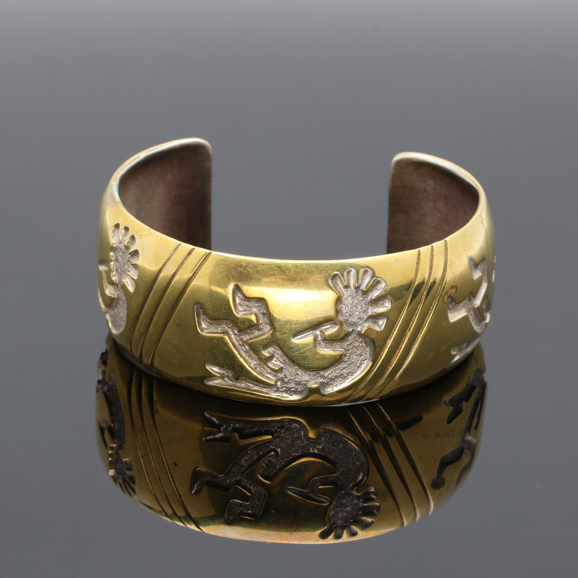 Randy Hoskie Navajo Diné Gold Wash on Sterling Silver Kokopelli Overlay Cuff