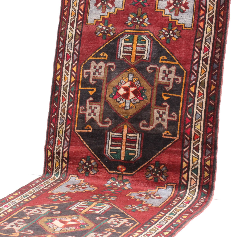 4' x 13' Vintage Hand-Knotted Persian Karaja Heriz Rug Runner