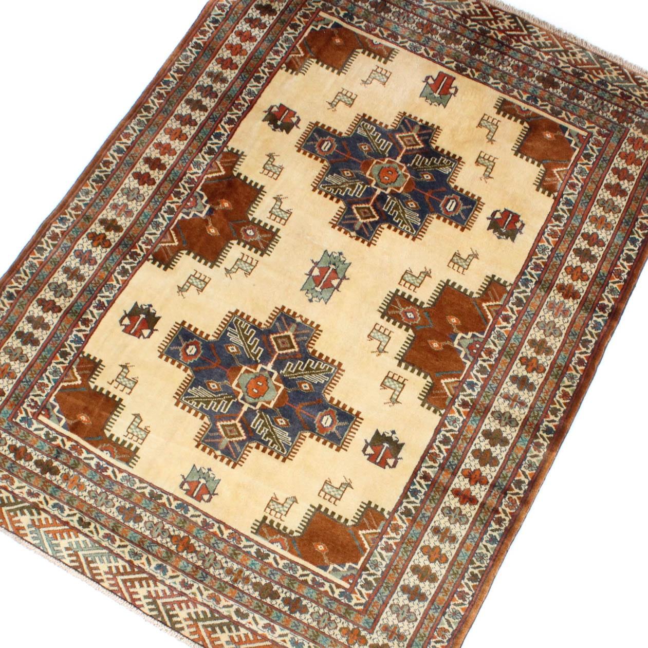 5' x 7' Vintage Hand-Knotted Persian Karaja Heriz Area Rug