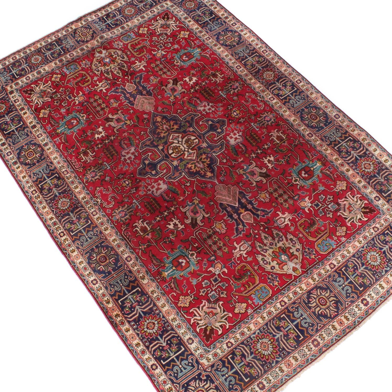 6' x 10' Vintage Hand-Knotted Persian Hajjalili Tabriz Area Rug