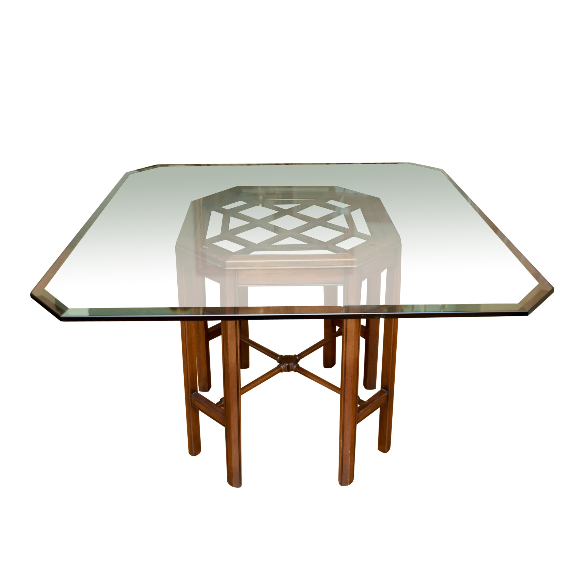 Asian Style Dining Table with Beveled Glass