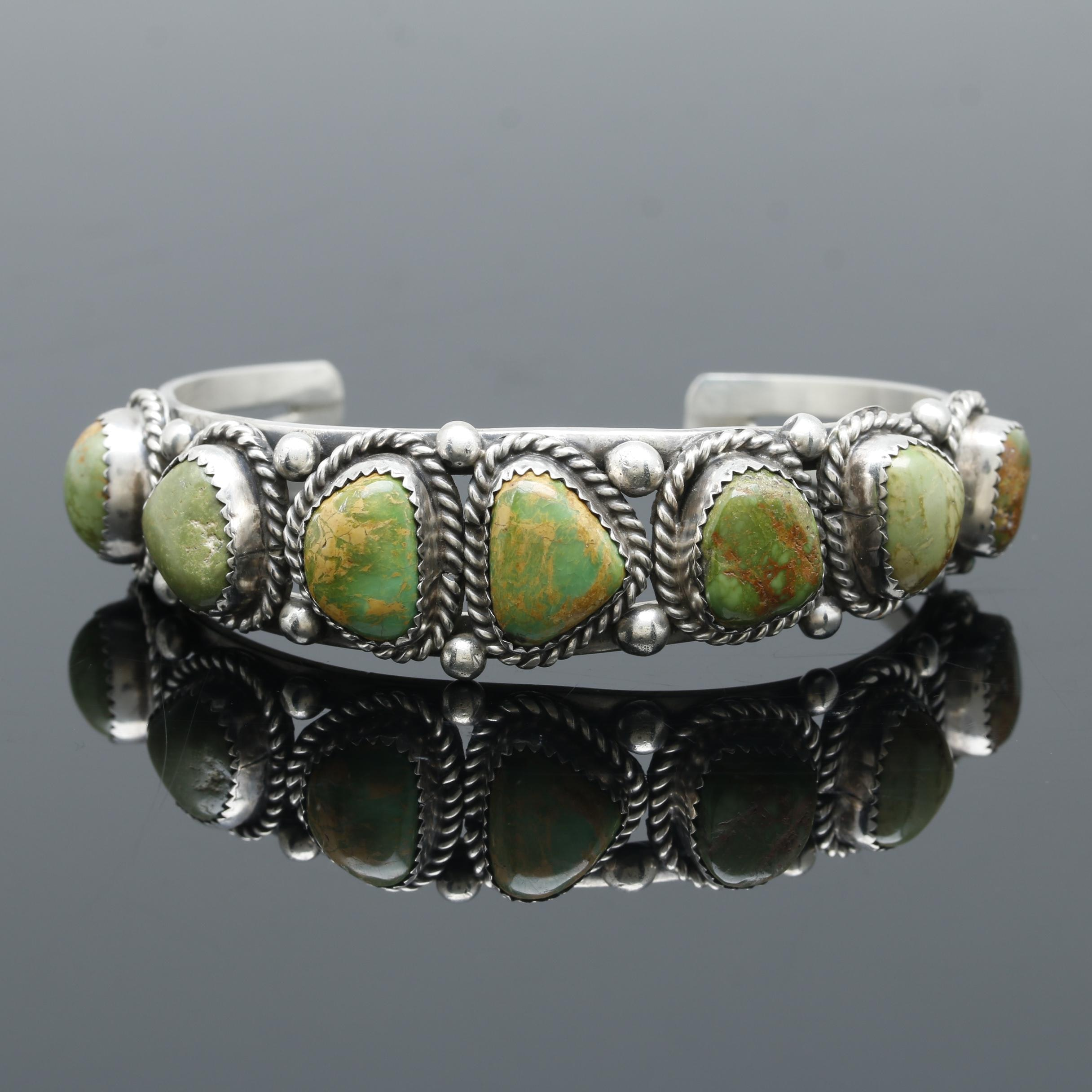 Lennie Mariano Navajo Diné Sterling Silver Green Turquoise Cuff