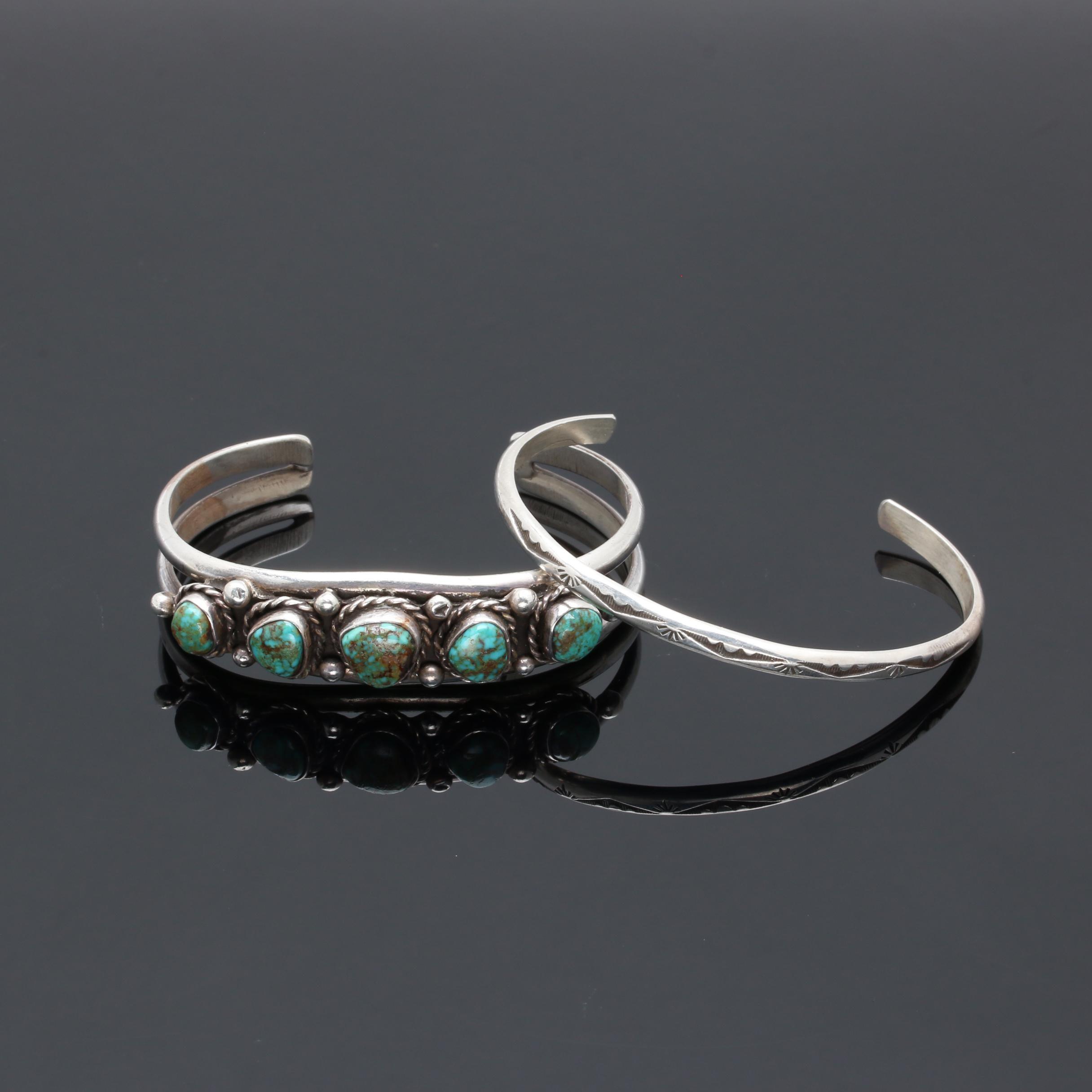 Leonard & Geraldine Paquin Zuni Sterling Bracelet and Southwestern Style Cuff