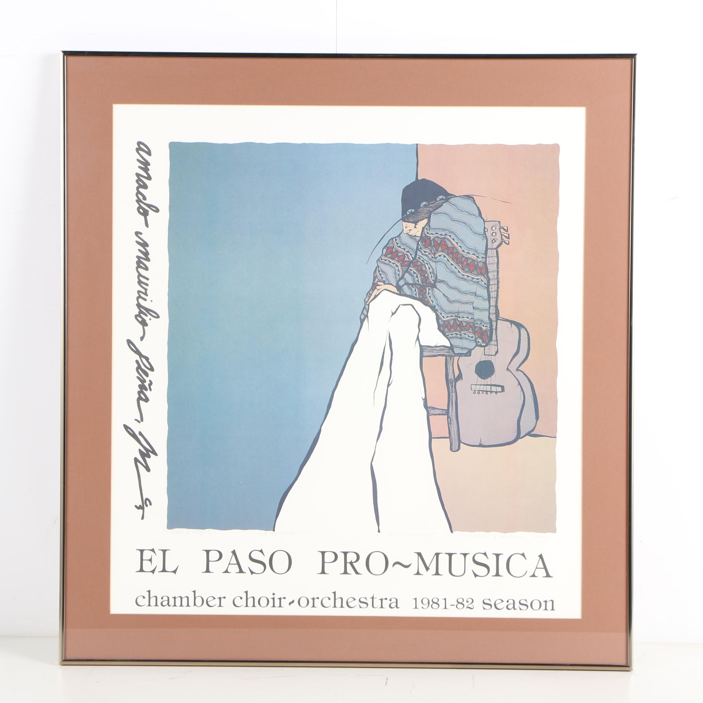 "Amado Maurilio Pena Jr. Limited Edition Offset Lithograph Poster ""El Musico"""