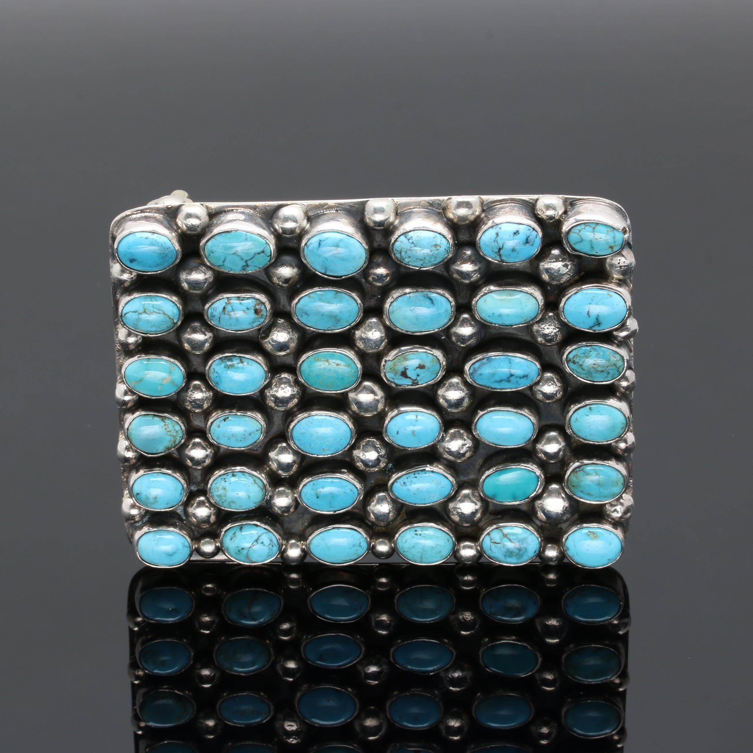 Cecil Atencio Navajo Diné Sterling Silver Turquoise Cluster Belt Buckle