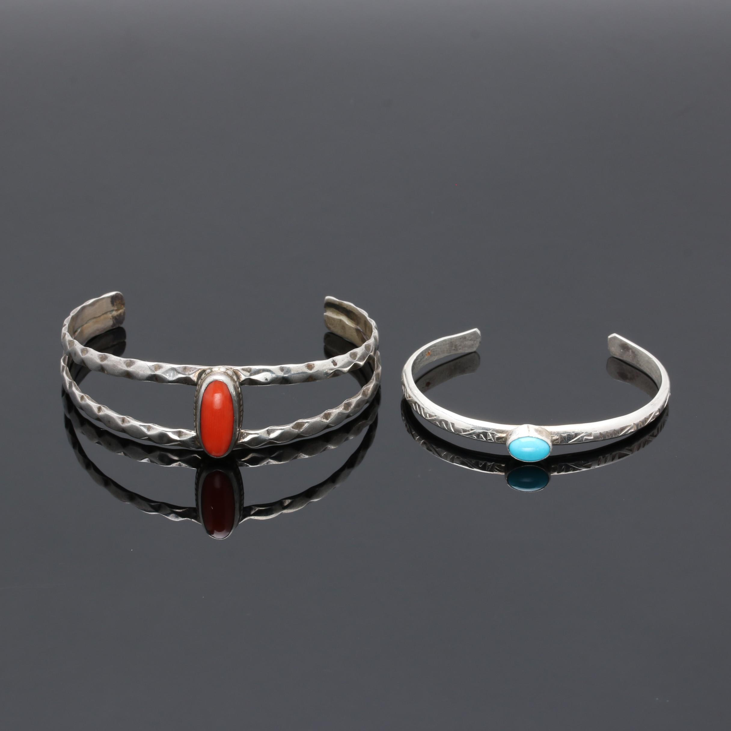 Southwestern Style Sterling Silver Turquoise and Coral Cuff Bracelets
